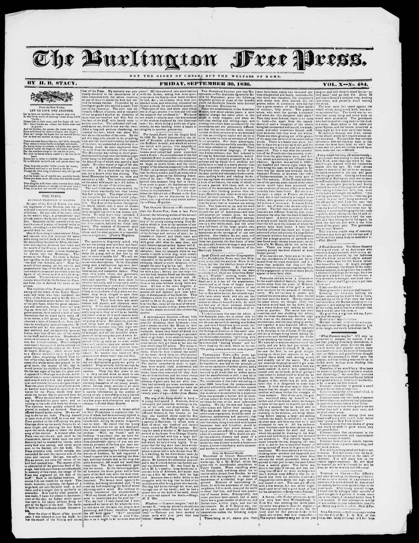 Newspaper of Burlington Free Press dated September 30, 1836 Page 1