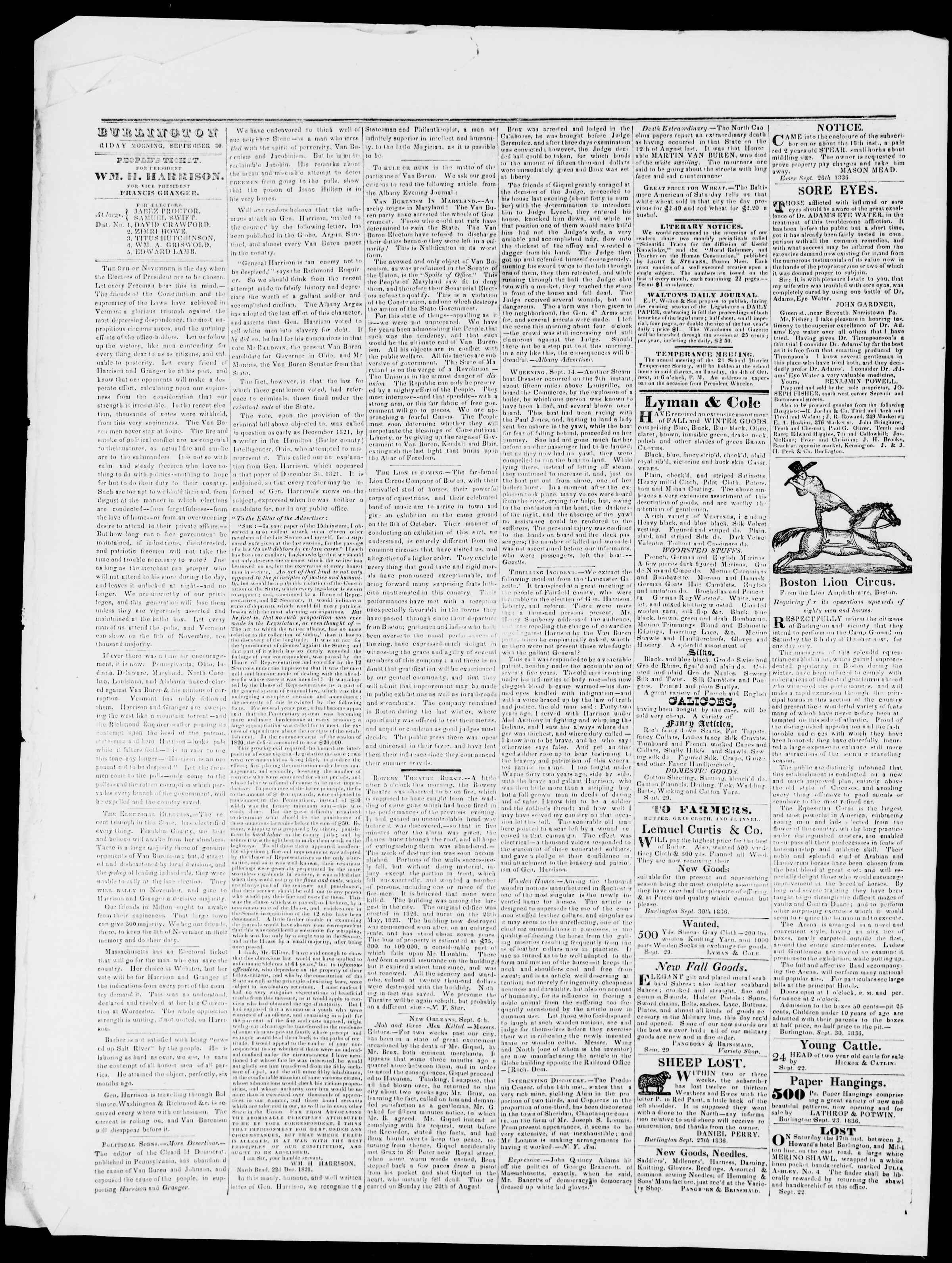 Newspaper of Burlington Free Press dated September 30, 1836 Page 2