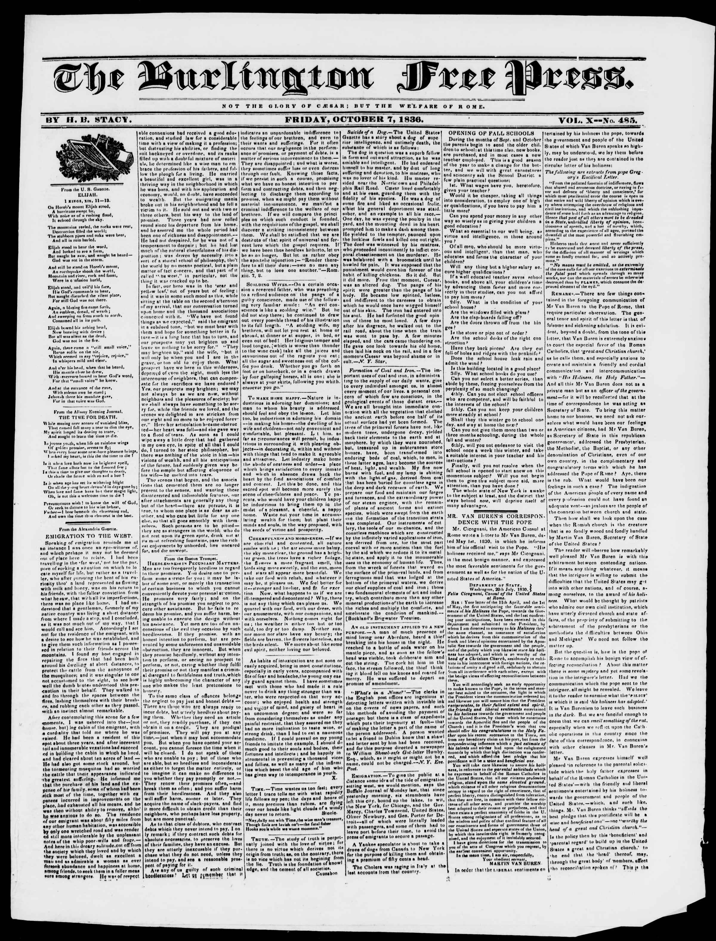 Newspaper of Burlington Free Press dated October 7, 1836 Page 1