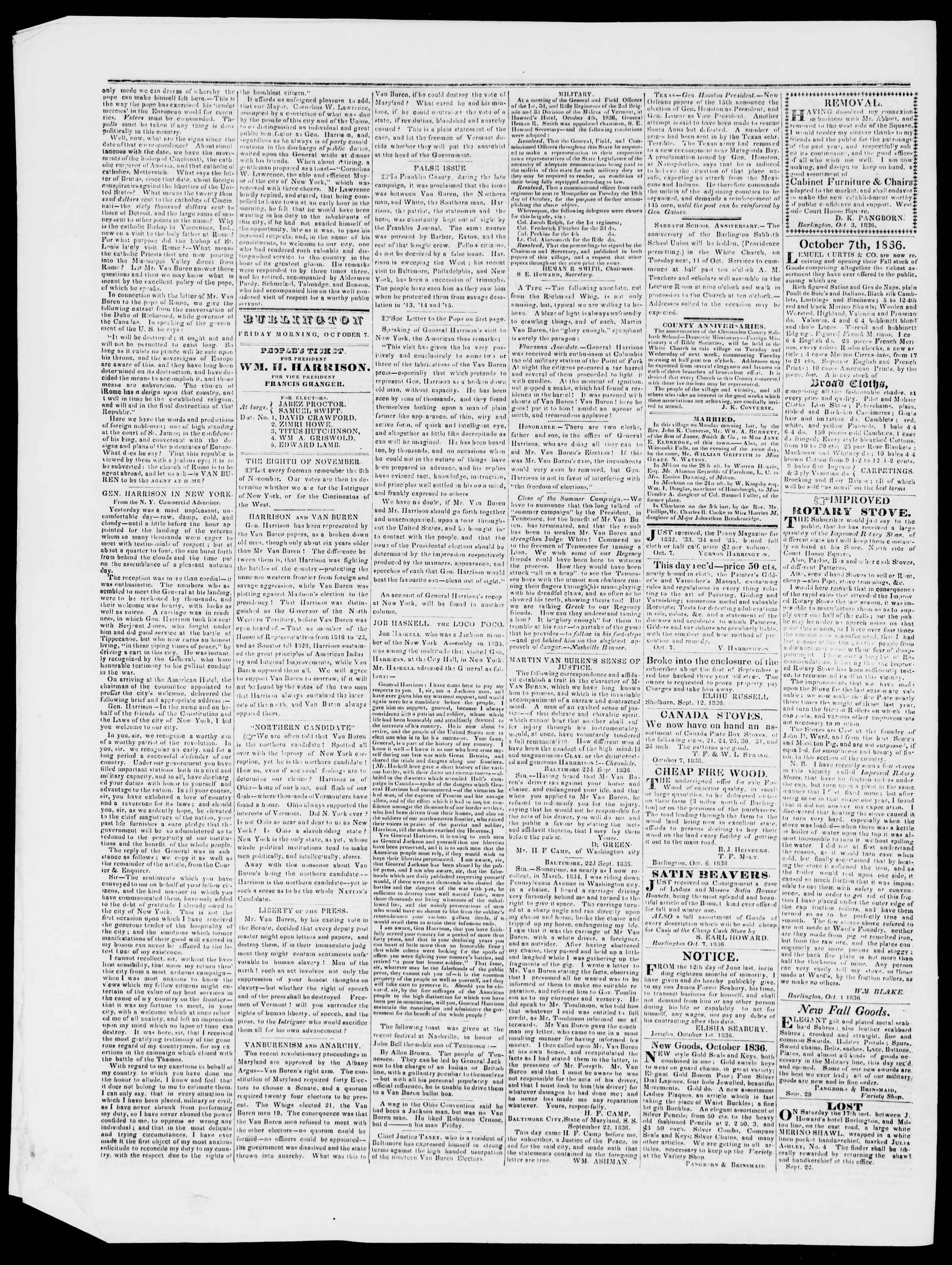 Newspaper of Burlington Free Press dated October 7, 1836 Page 2