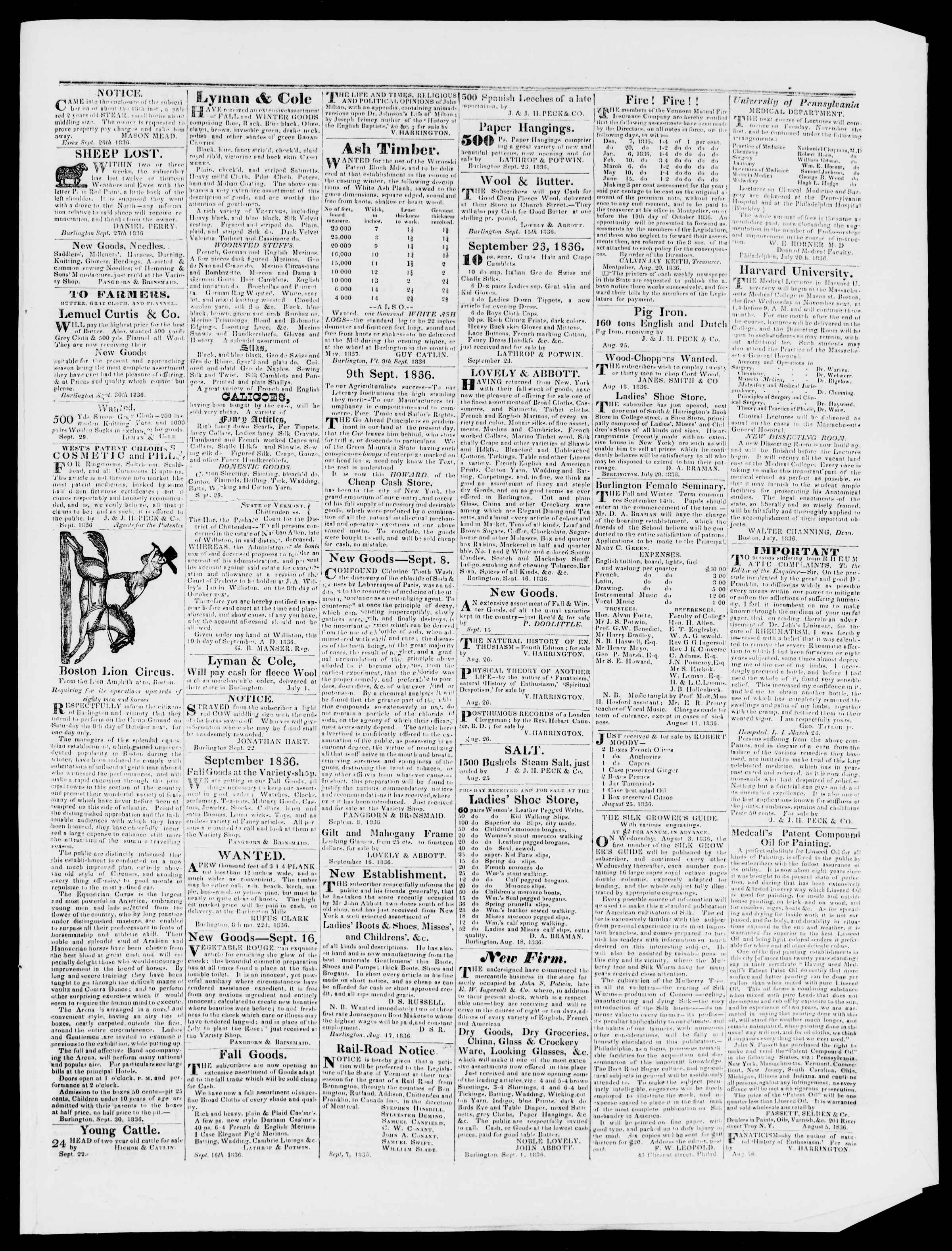 Newspaper of Burlington Free Press dated October 7, 1836 Page 3