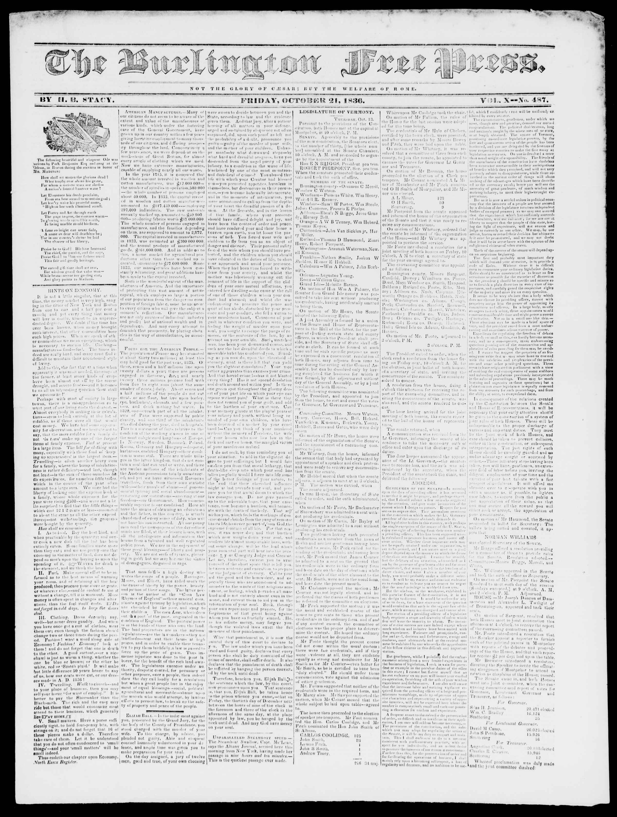 Newspaper of Burlington Free Press dated October 21, 1836 Page 1