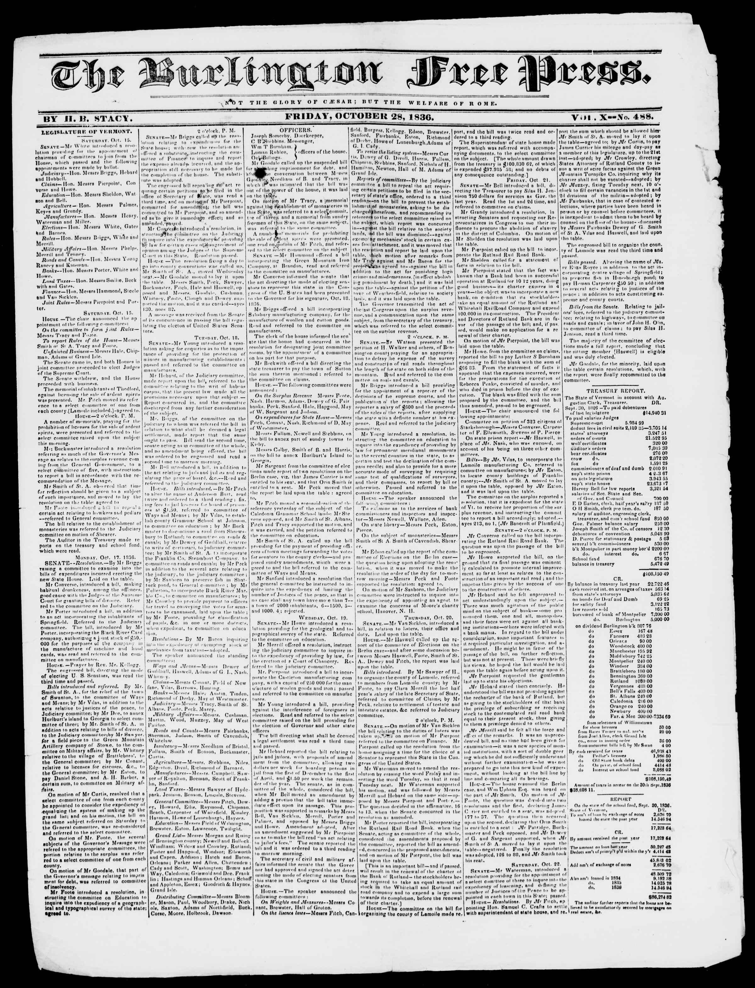 Newspaper of Burlington Free Press dated 28 Ekim 1836 Page 1