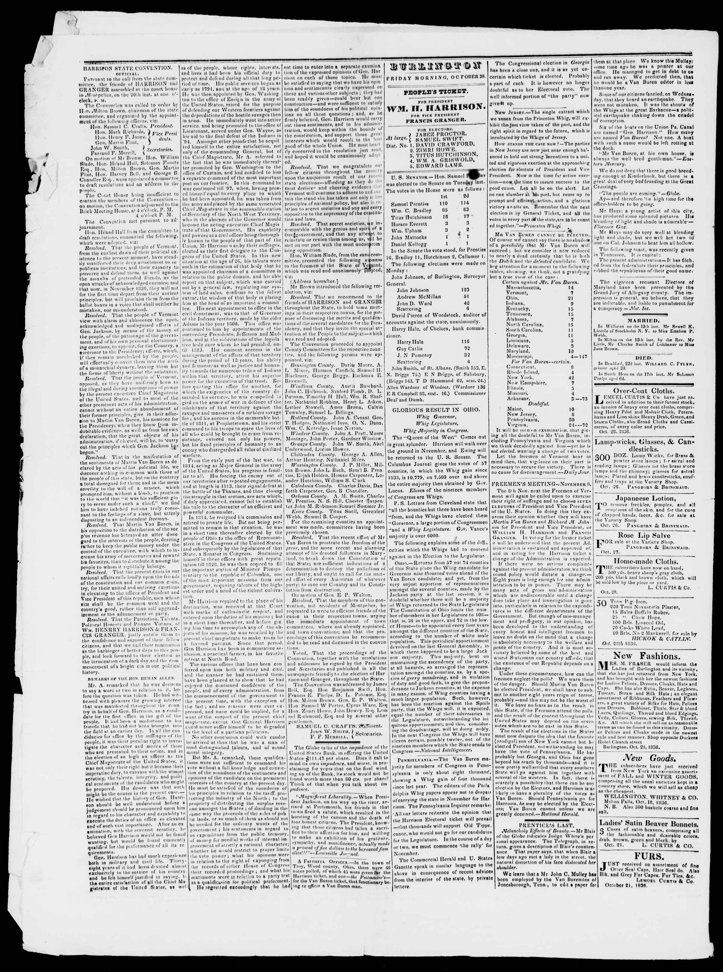 Newspaper of Burlington Free Press dated October 28, 1836 Page 2