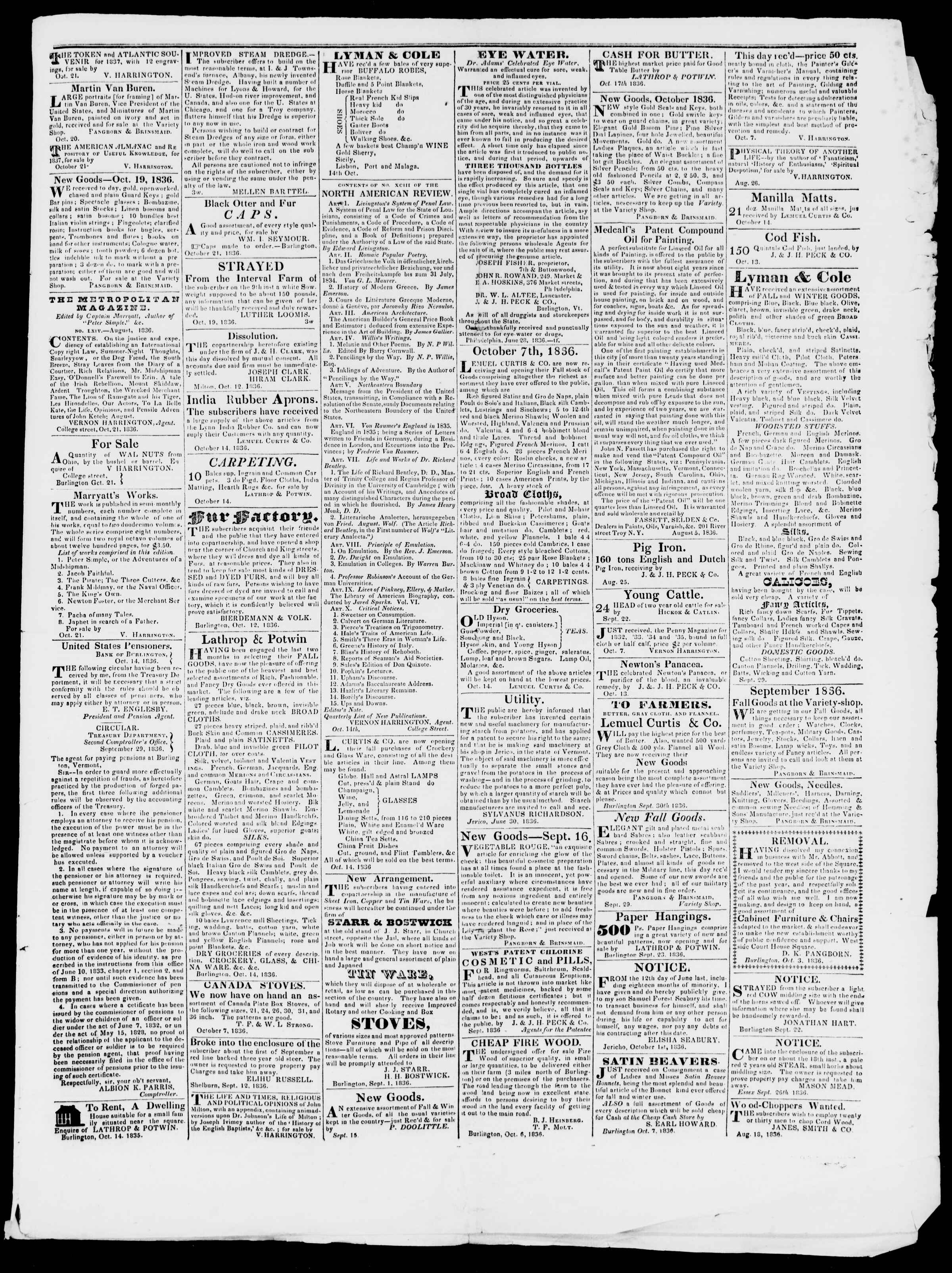 Newspaper of Burlington Free Press dated October 28, 1836 Page 3