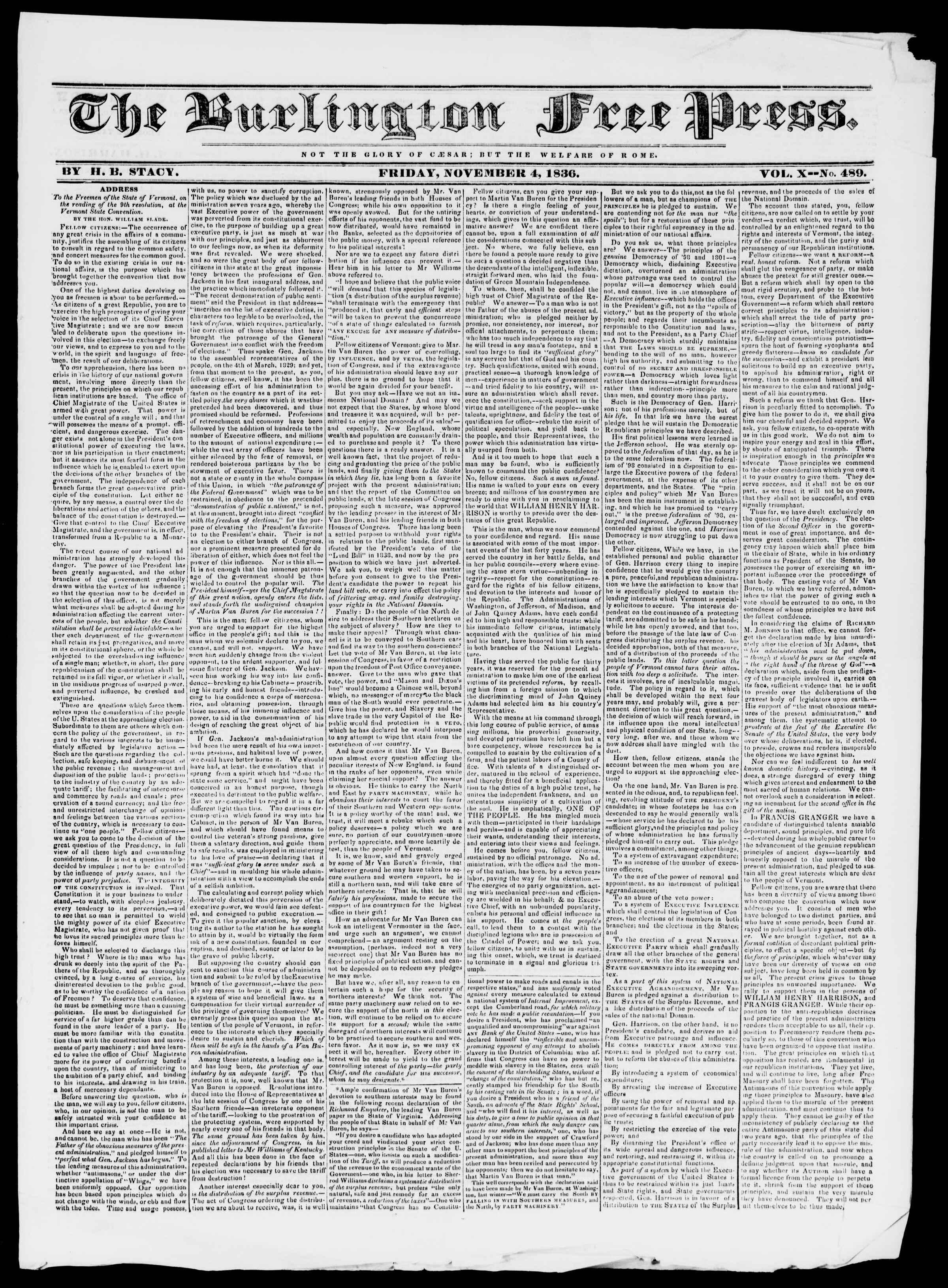 Newspaper of Burlington Free Press dated November 4, 1836 Page 1