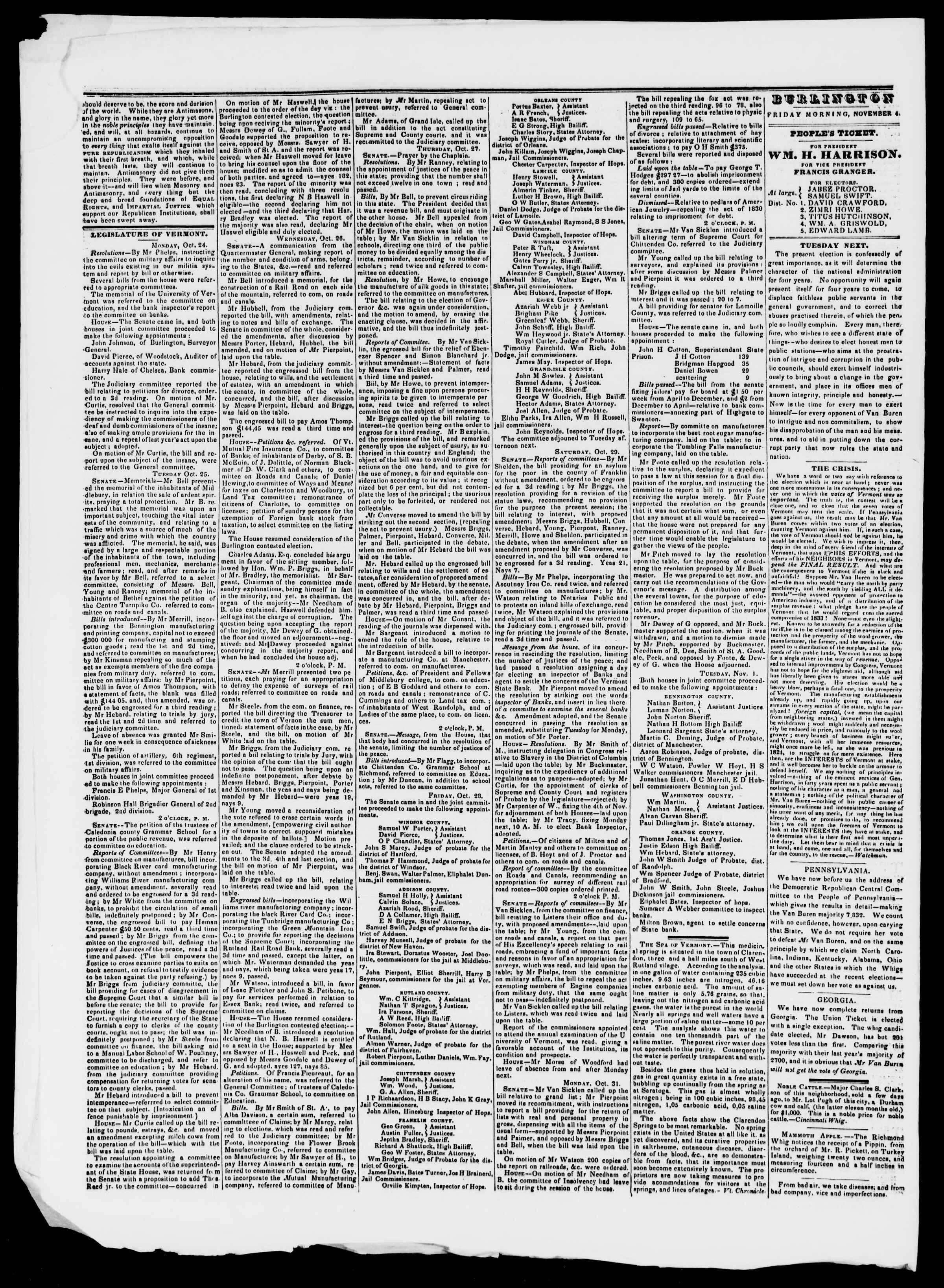 Newspaper of Burlington Free Press dated November 4, 1836 Page 2