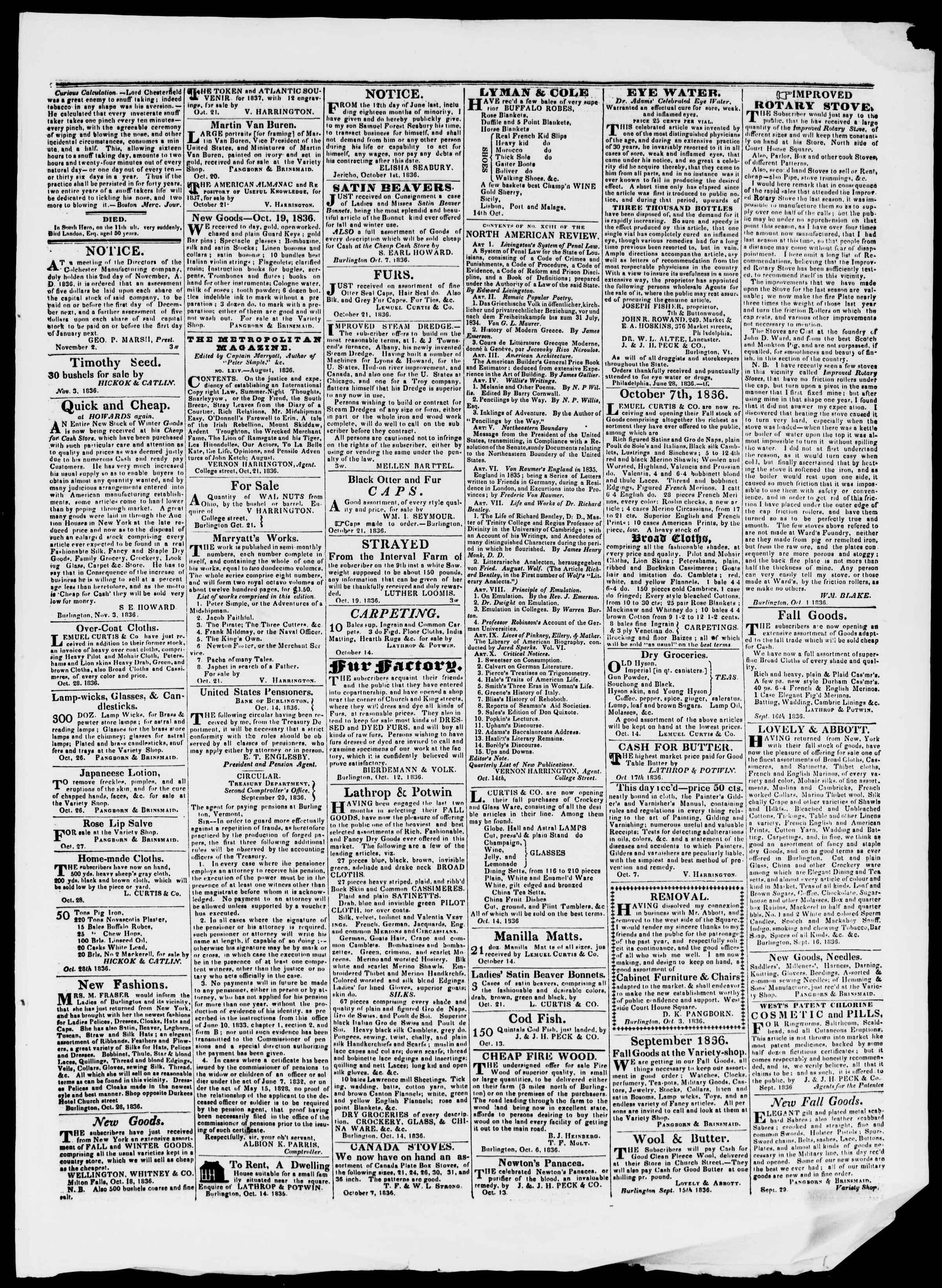 Newspaper of Burlington Free Press dated November 4, 1836 Page 3