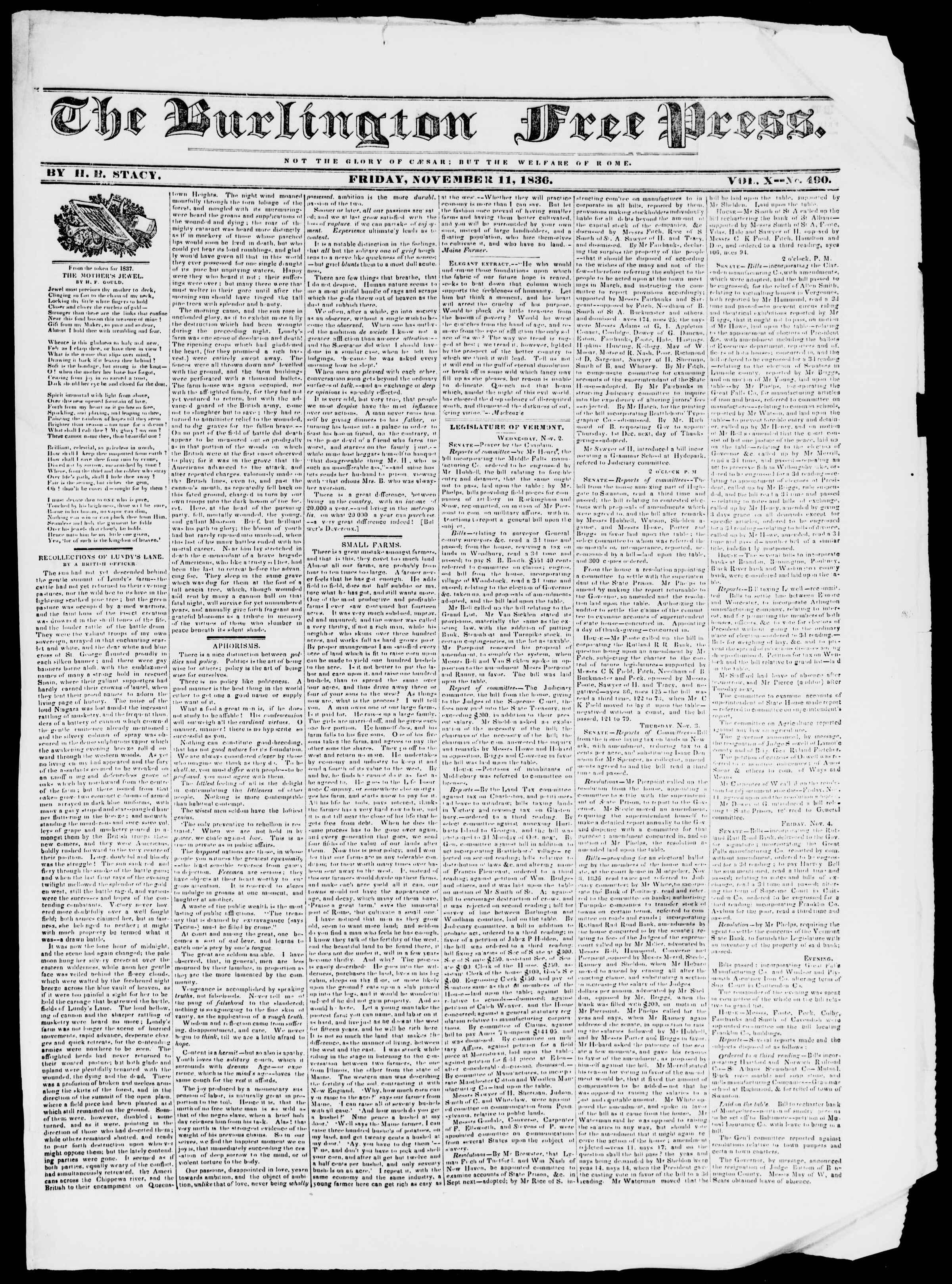 Newspaper of Burlington Free Press dated November 11, 1836 Page 1