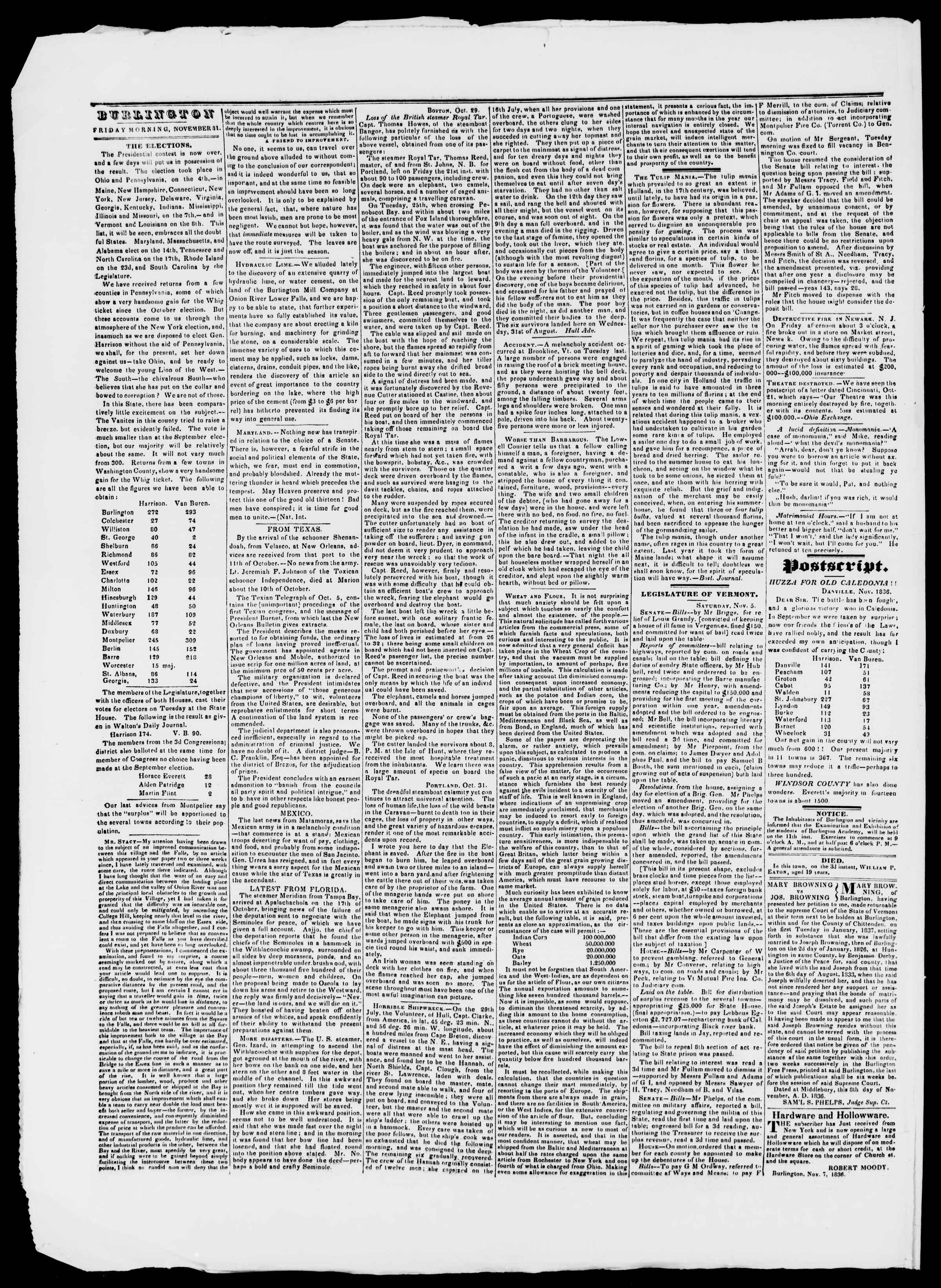 Newspaper of Burlington Free Press dated November 11, 1836 Page 2