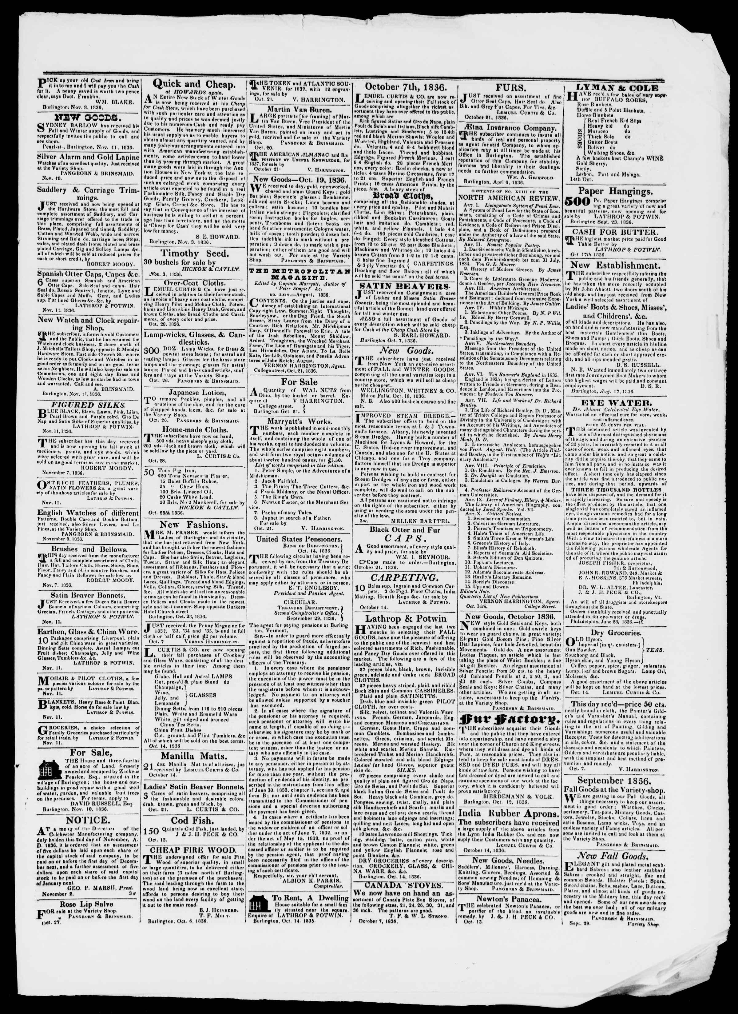 Newspaper of Burlington Free Press dated November 11, 1836 Page 3