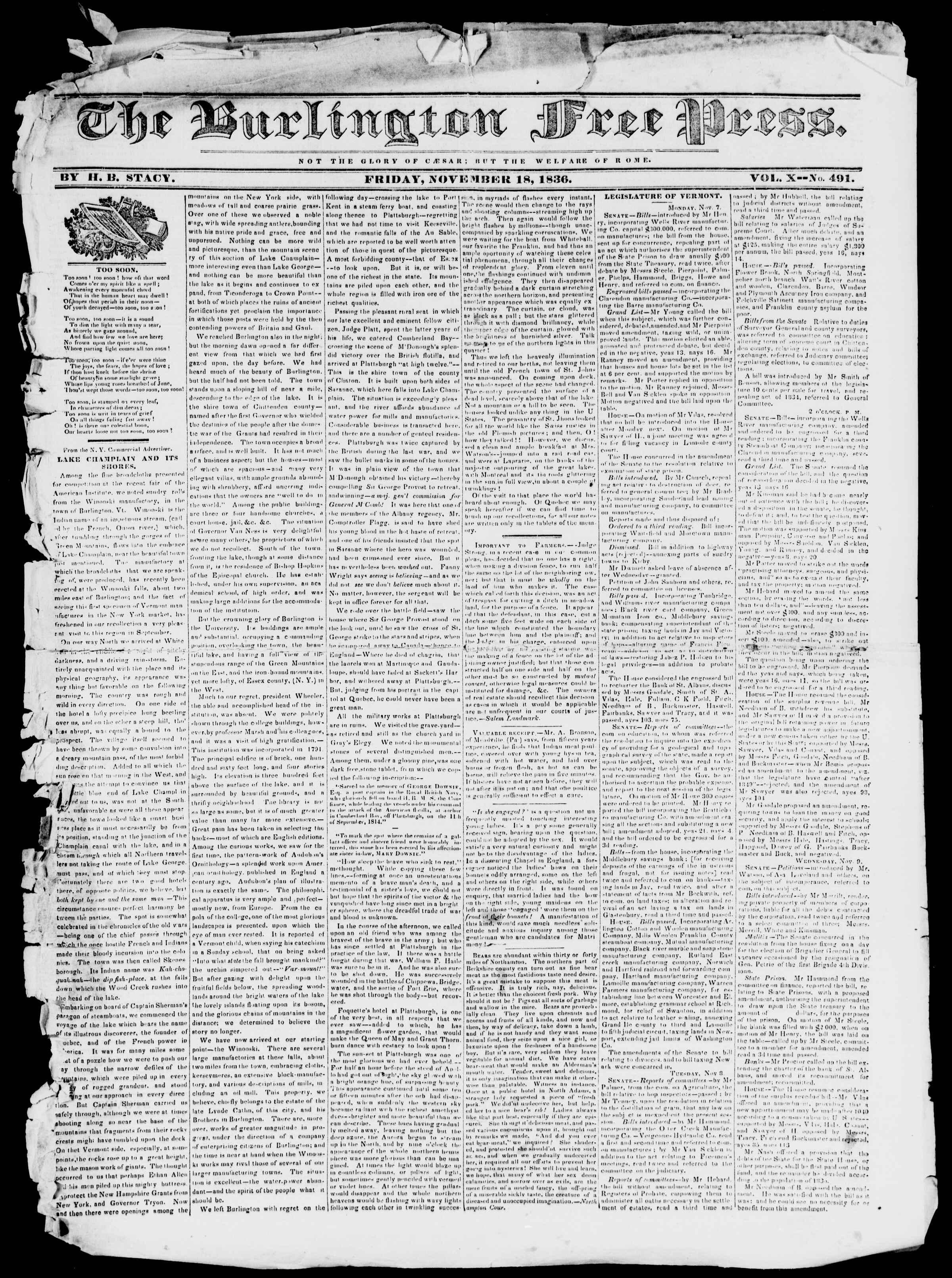 Newspaper of Burlington Free Press dated November 18, 1836 Page 1