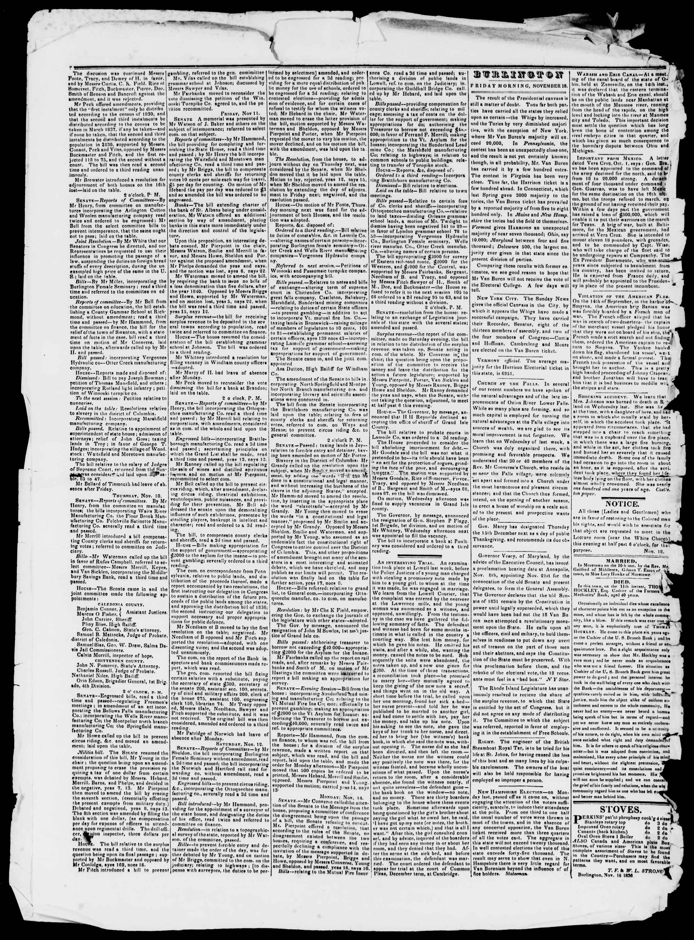Newspaper of Burlington Free Press dated November 18, 1836 Page 2