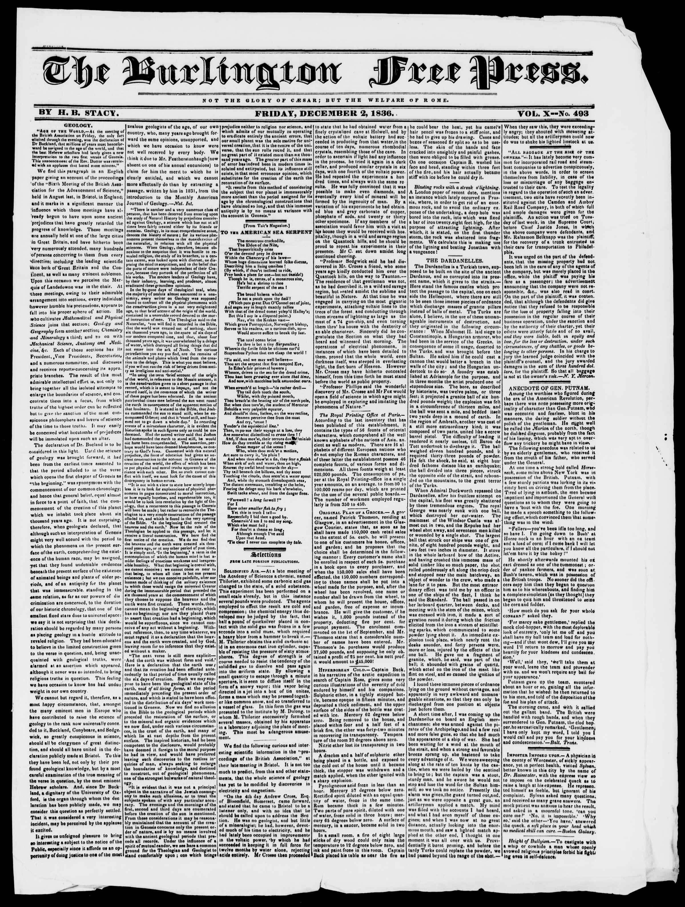 Newspaper of Burlington Free Press dated December 2, 1836 Page 1