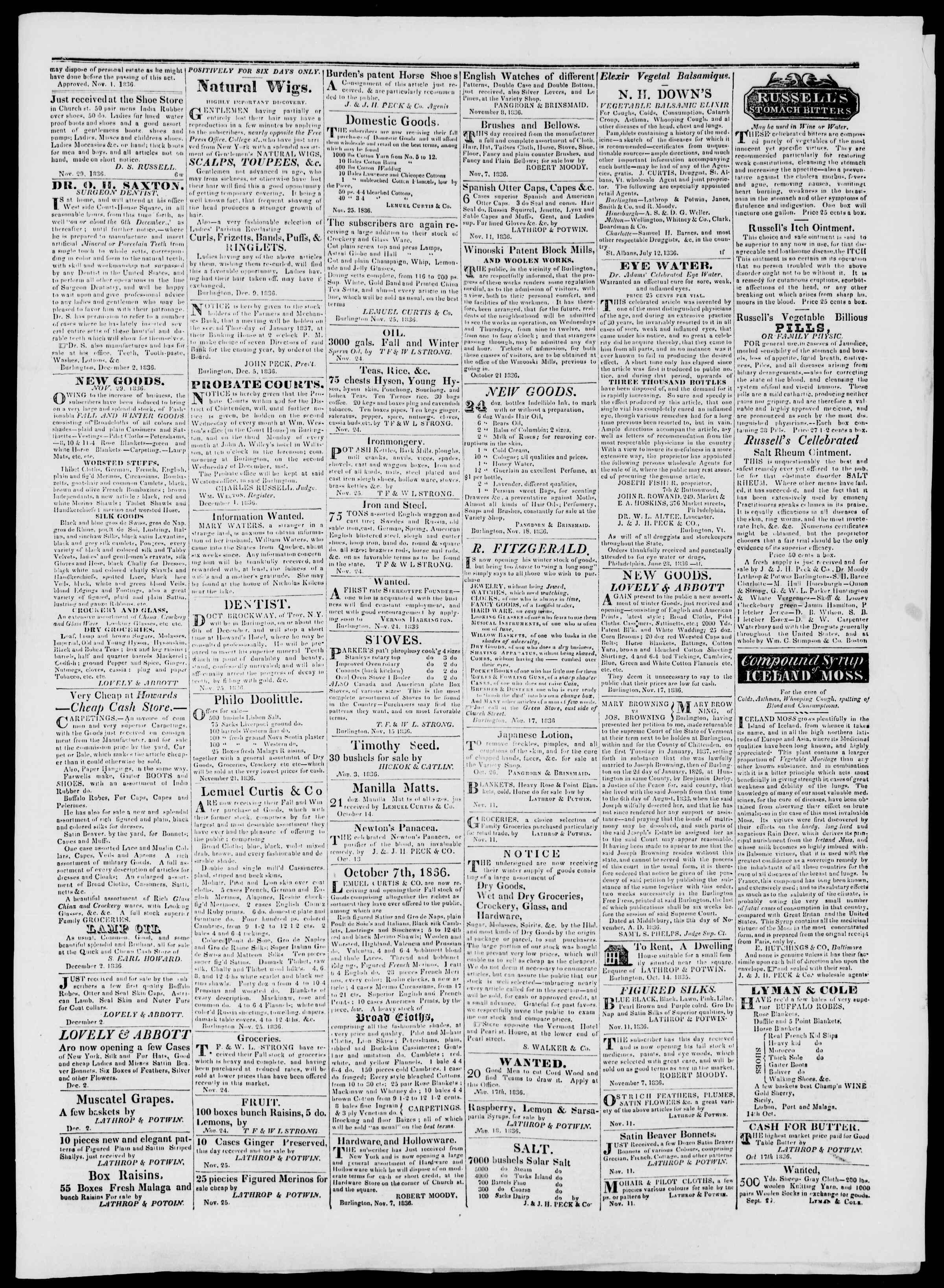 Newspaper of Burlington Free Press dated December 9, 1836 Page 3