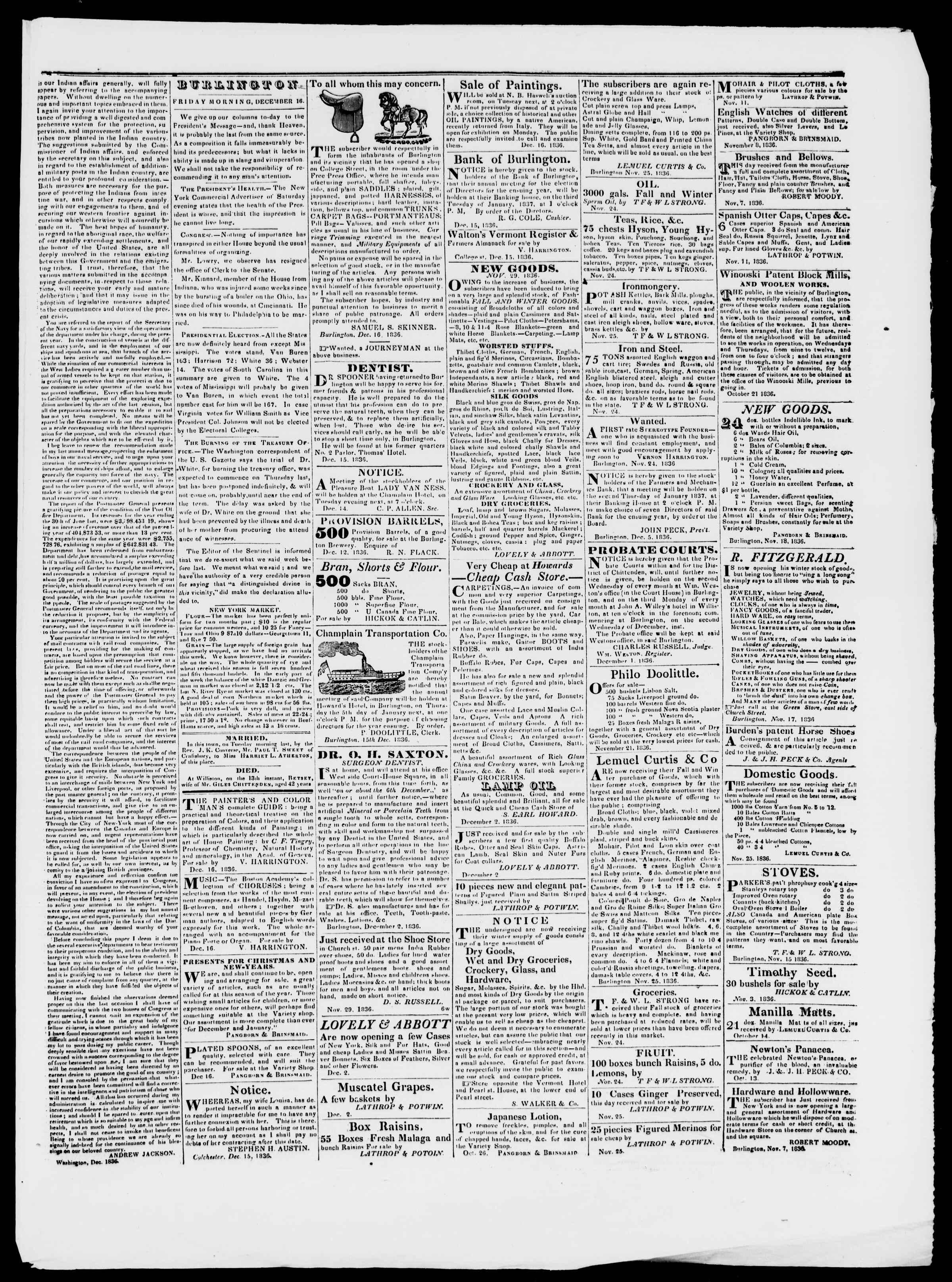 Newspaper of Burlington Free Press dated December 16, 1836 Page 3