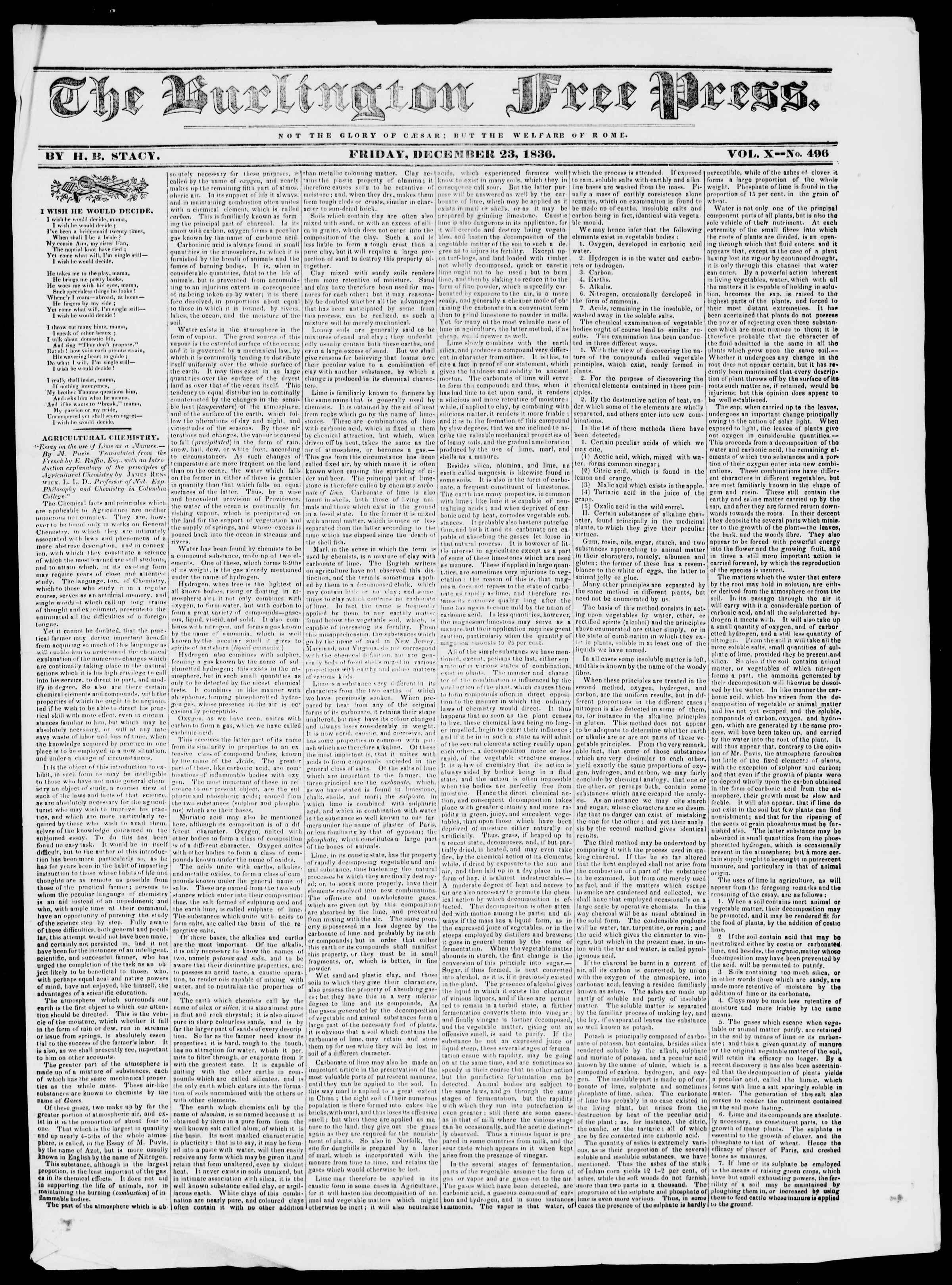 Newspaper of Burlington Free Press dated December 23, 1836 Page 1