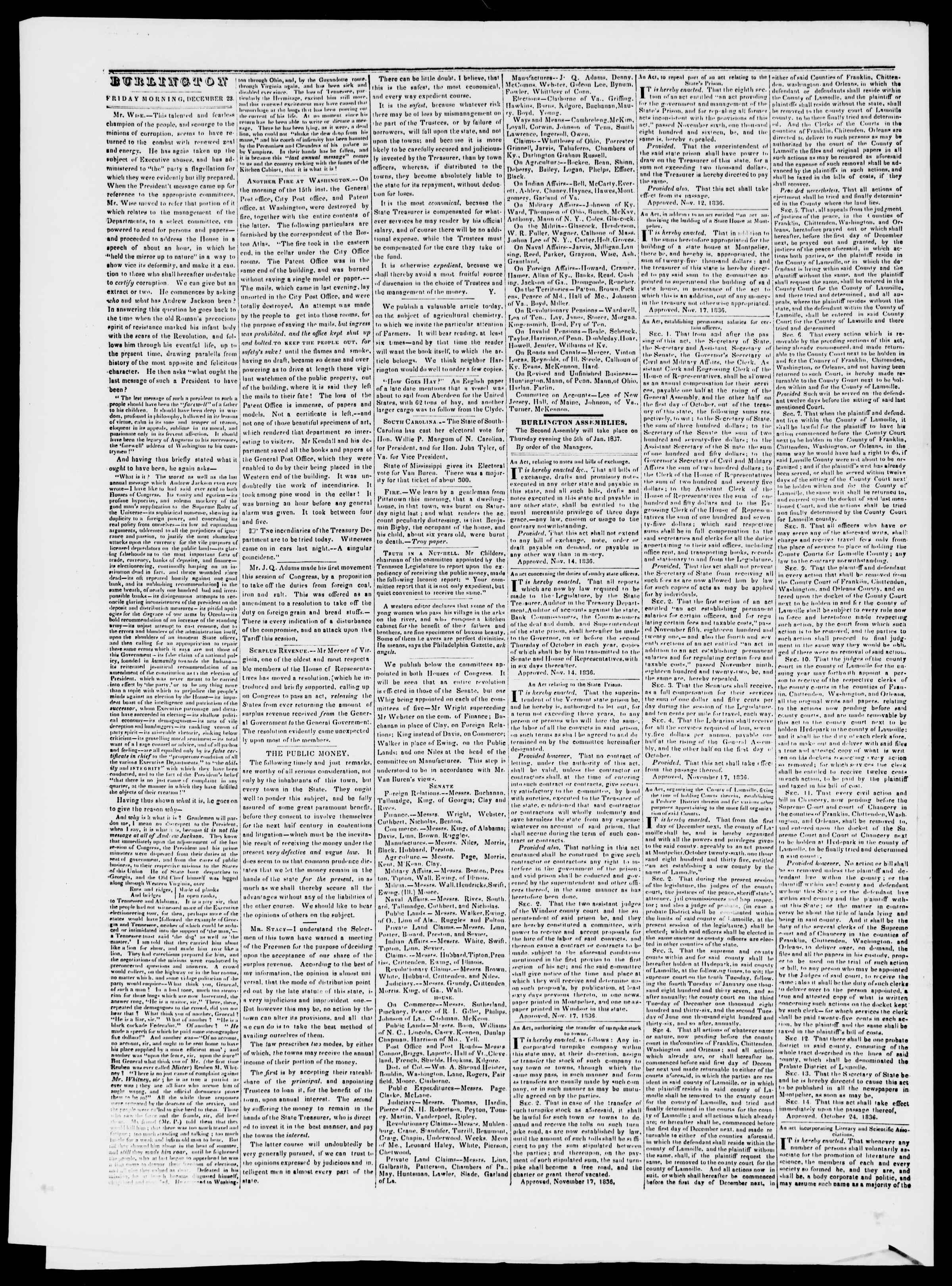 Newspaper of Burlington Free Press dated December 23, 1836 Page 2