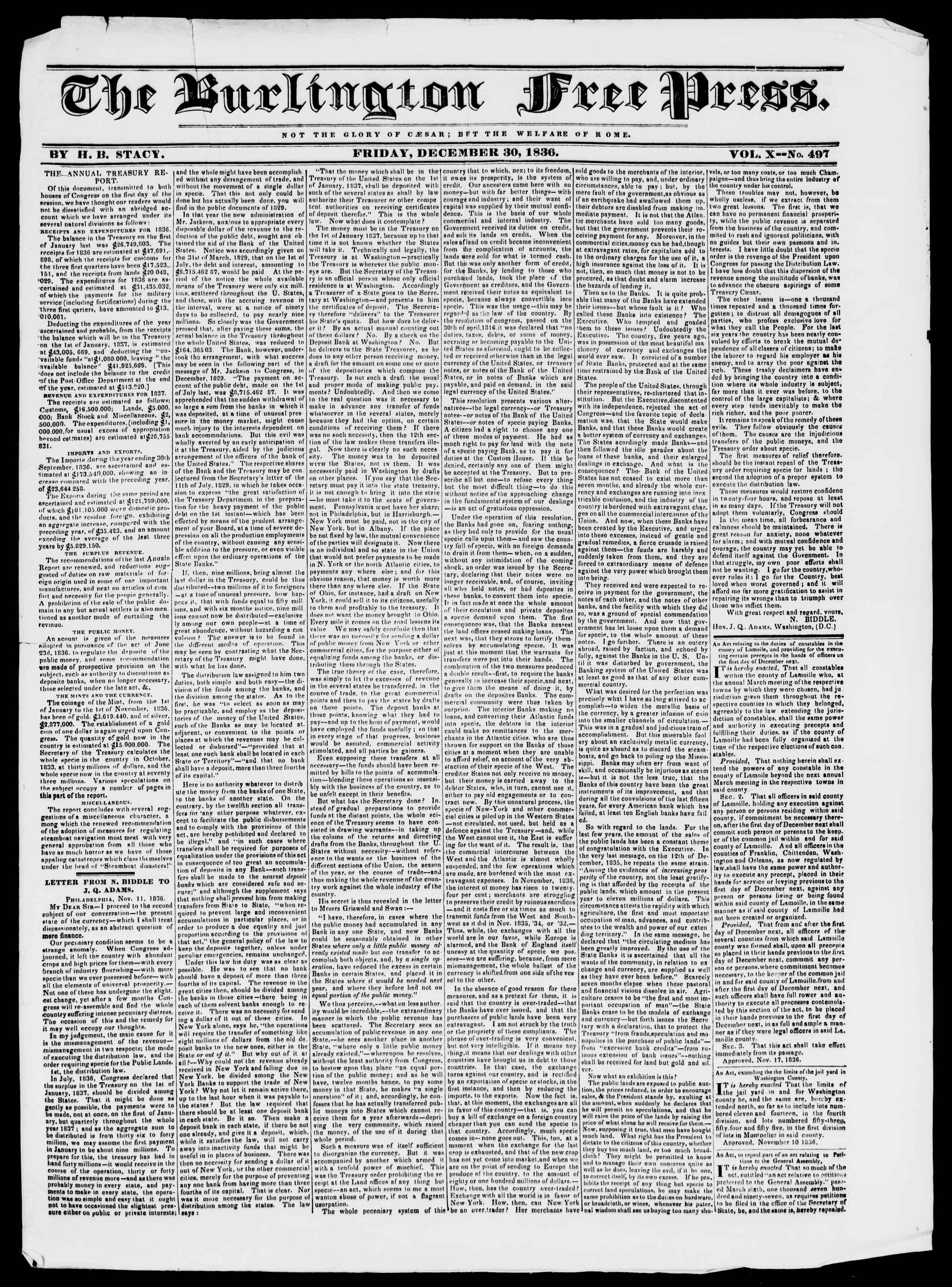 Newspaper of Burlington Free Press dated December 30, 1836 Page 1