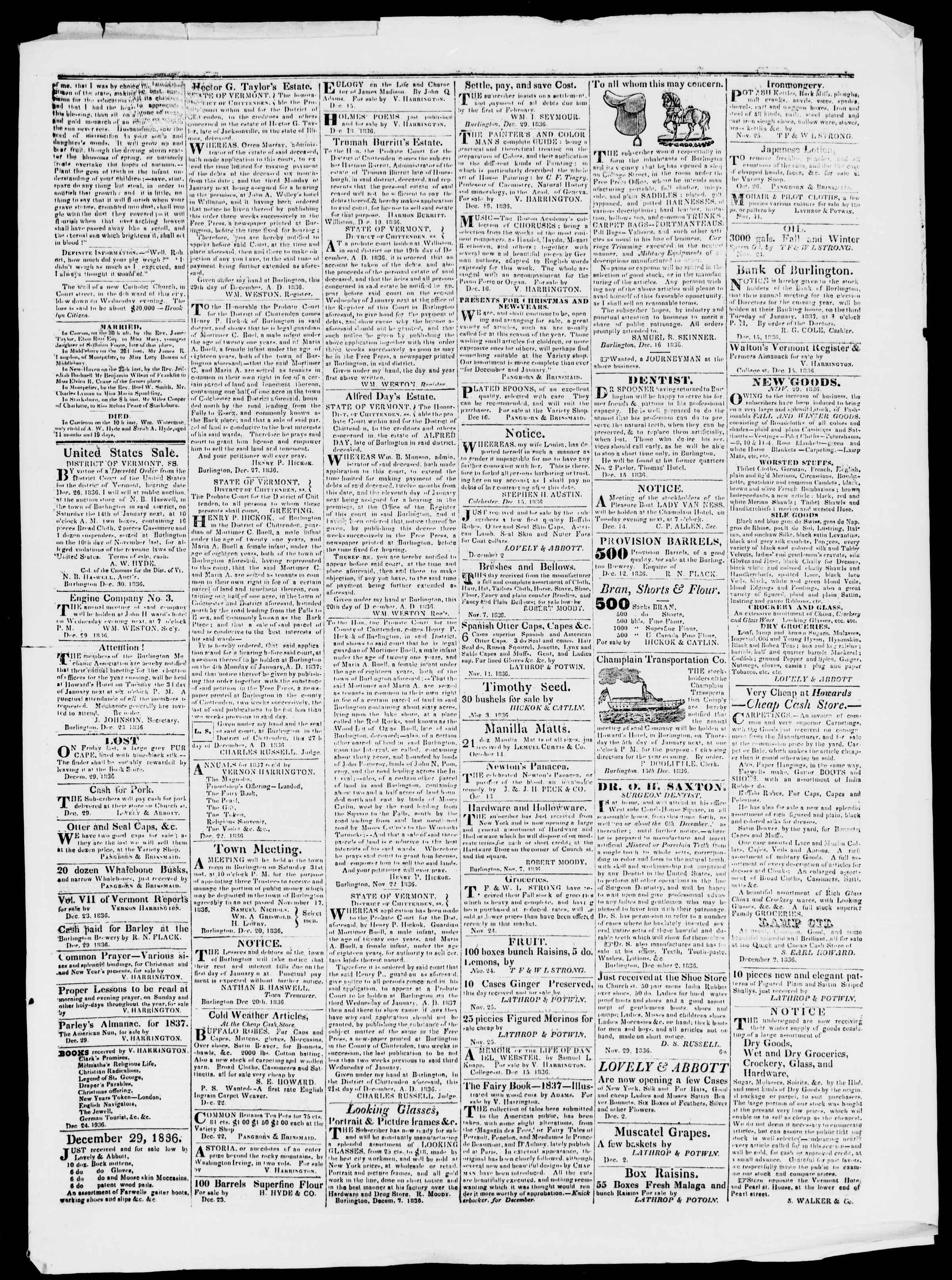 Newspaper of Burlington Free Press dated December 30, 1836 Page 3