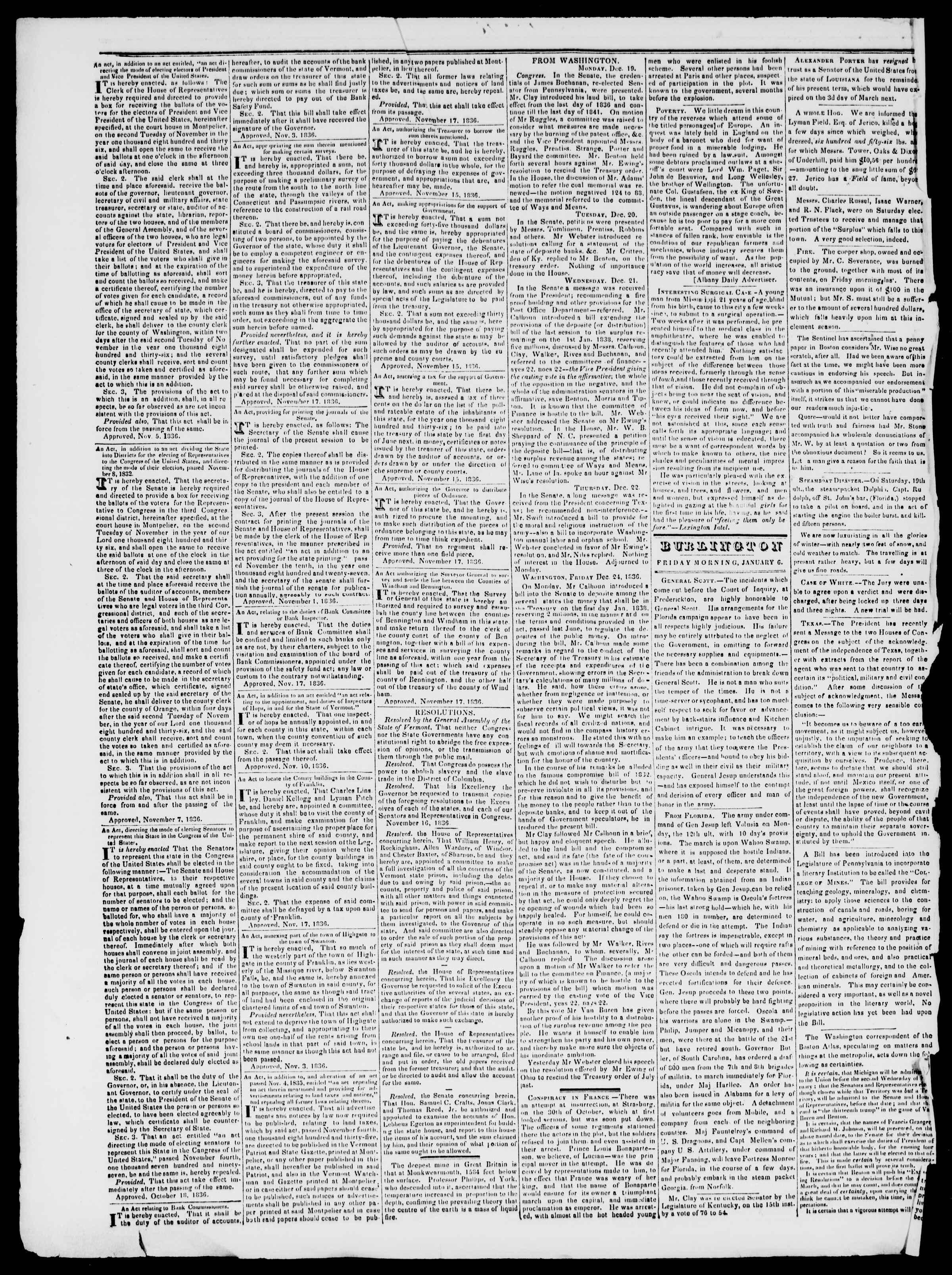 Newspaper of Burlington Free Press dated January 6, 1837 Page 2