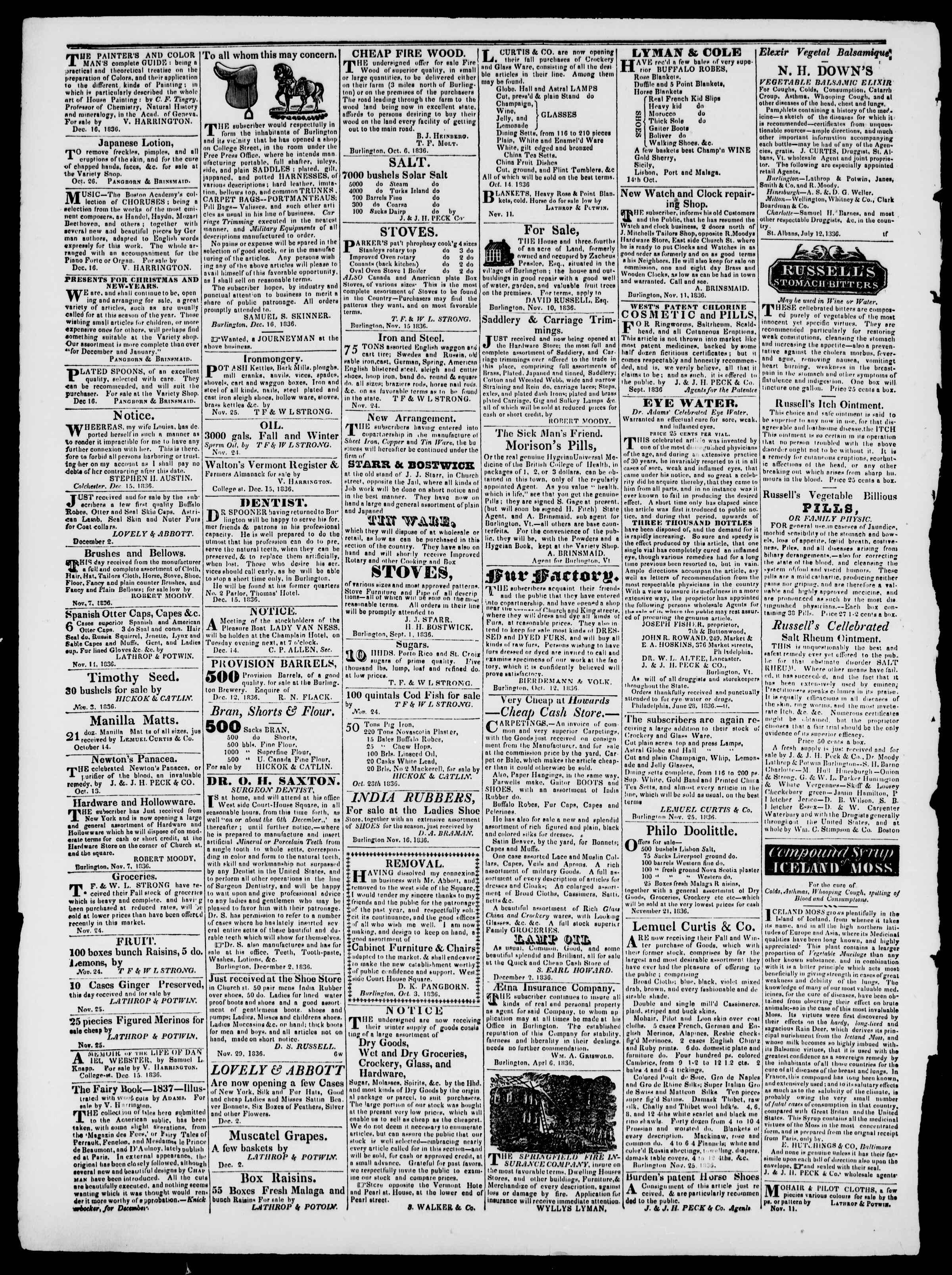 Newspaper of Burlington Free Press dated January 6, 1837 Page 4