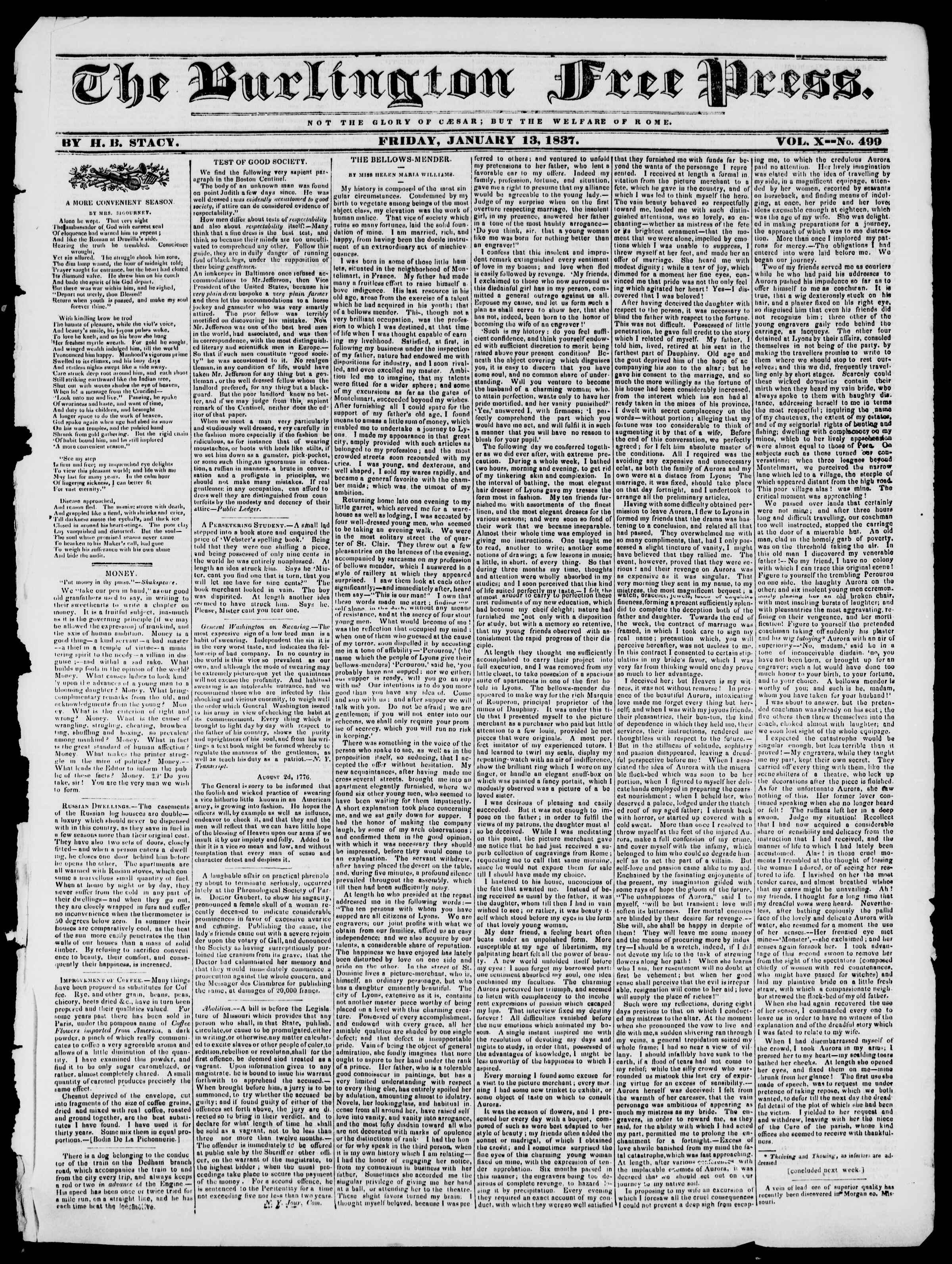 Newspaper of Burlington Free Press dated January 13, 1837 Page 1