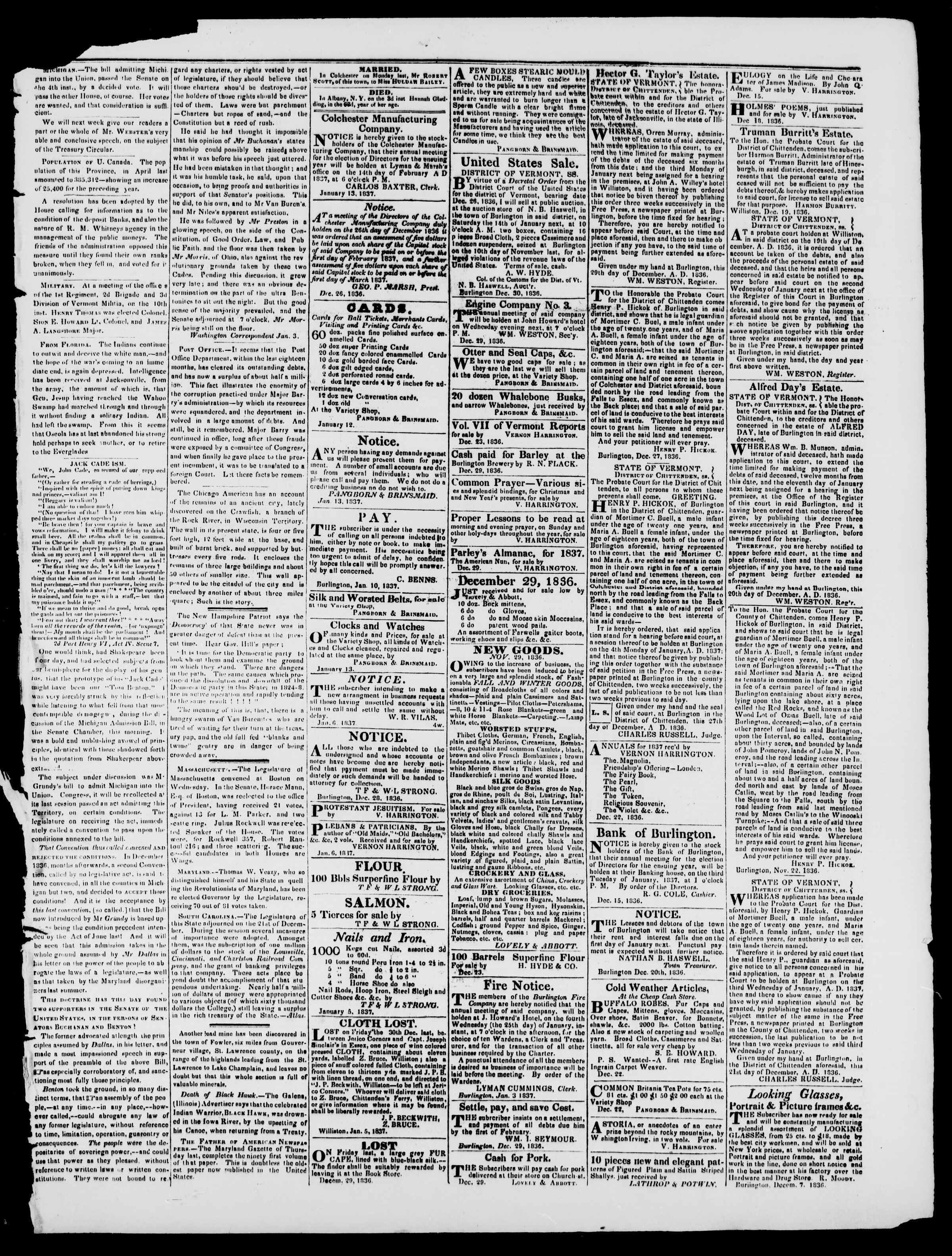 Newspaper of Burlington Free Press dated January 13, 1837 Page 3