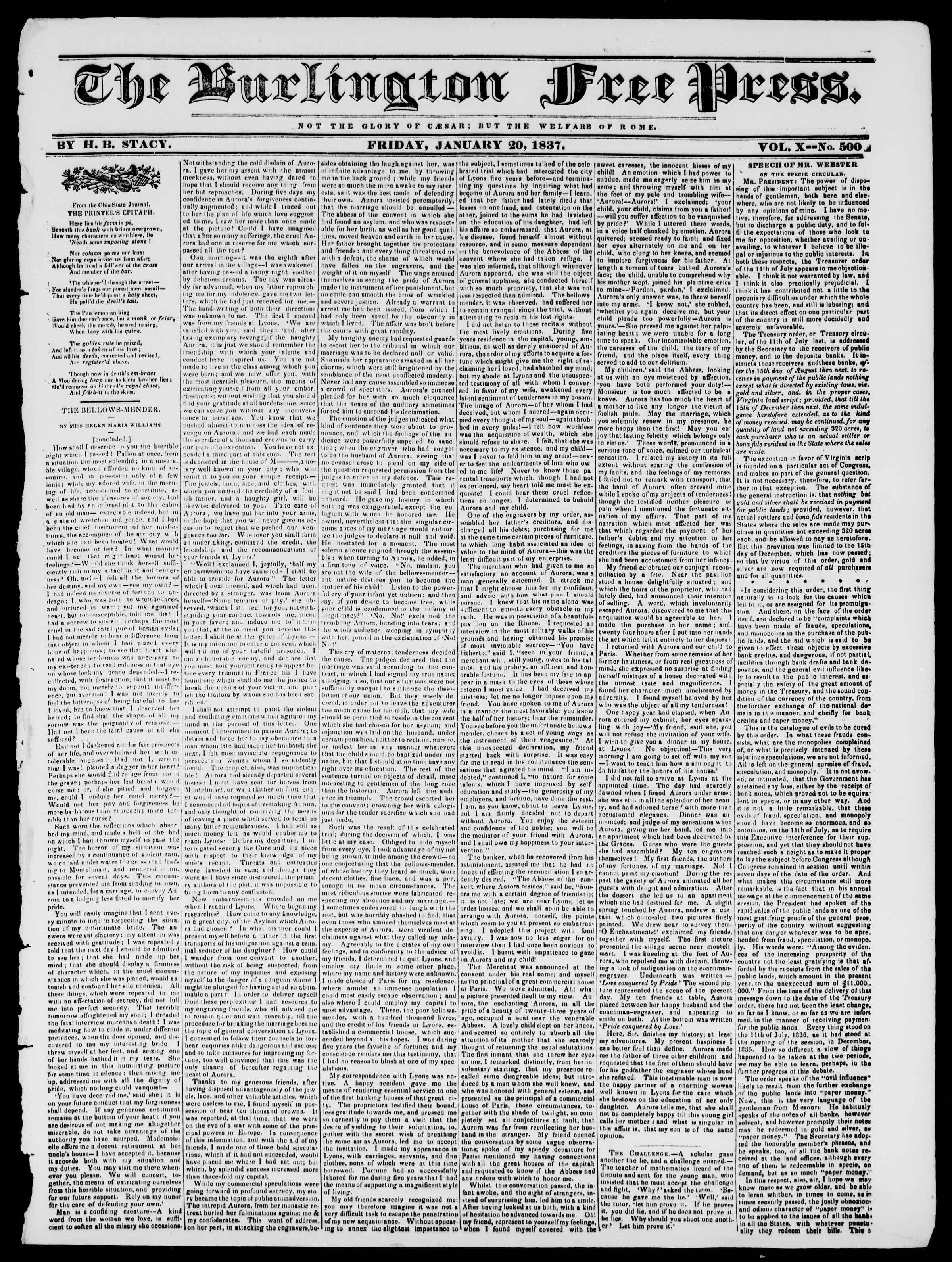 Newspaper of Burlington Free Press dated January 20, 1837 Page 1