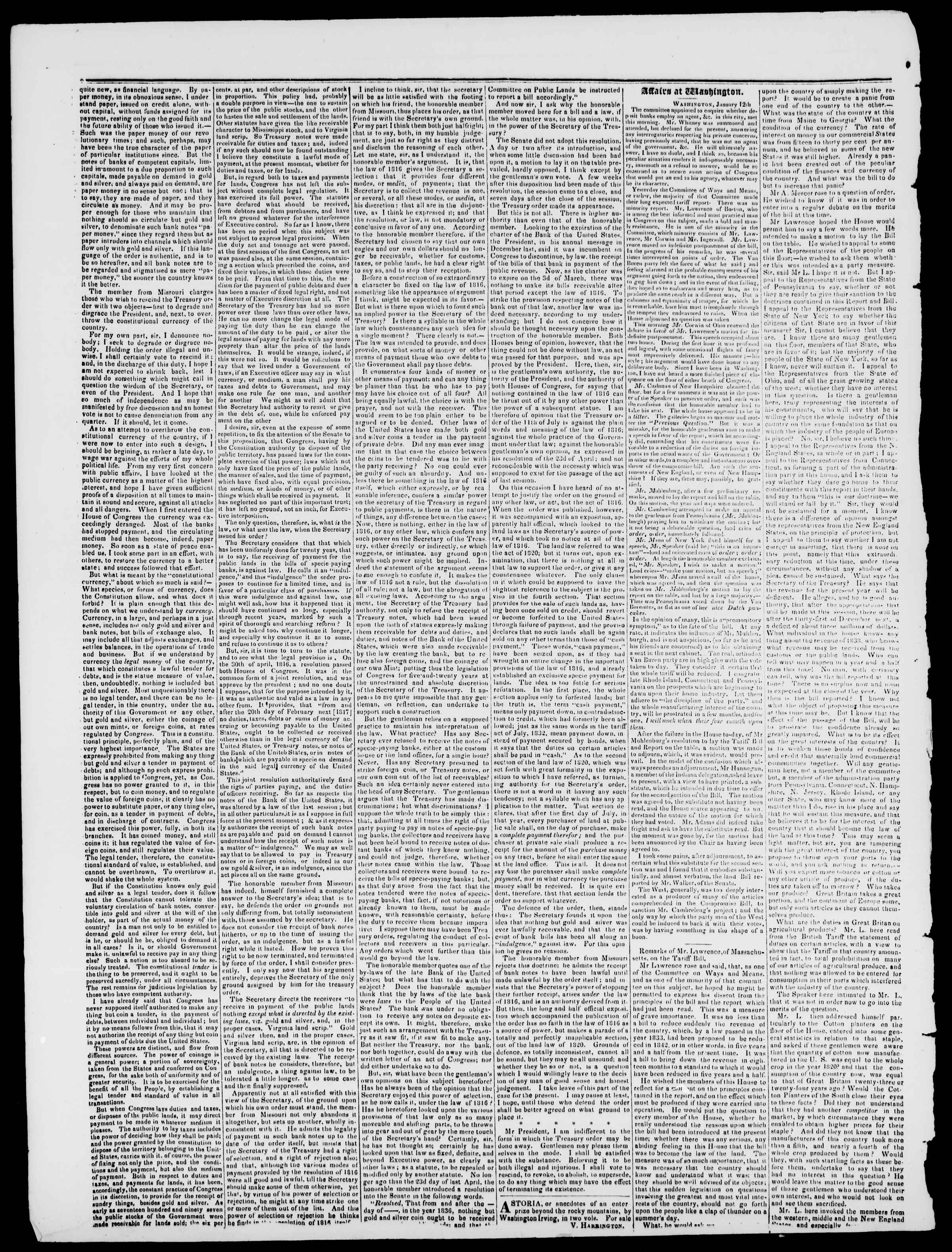 20 Ocak 1837 tarihli Burlington Free Press Gazetesi Sayfa 2