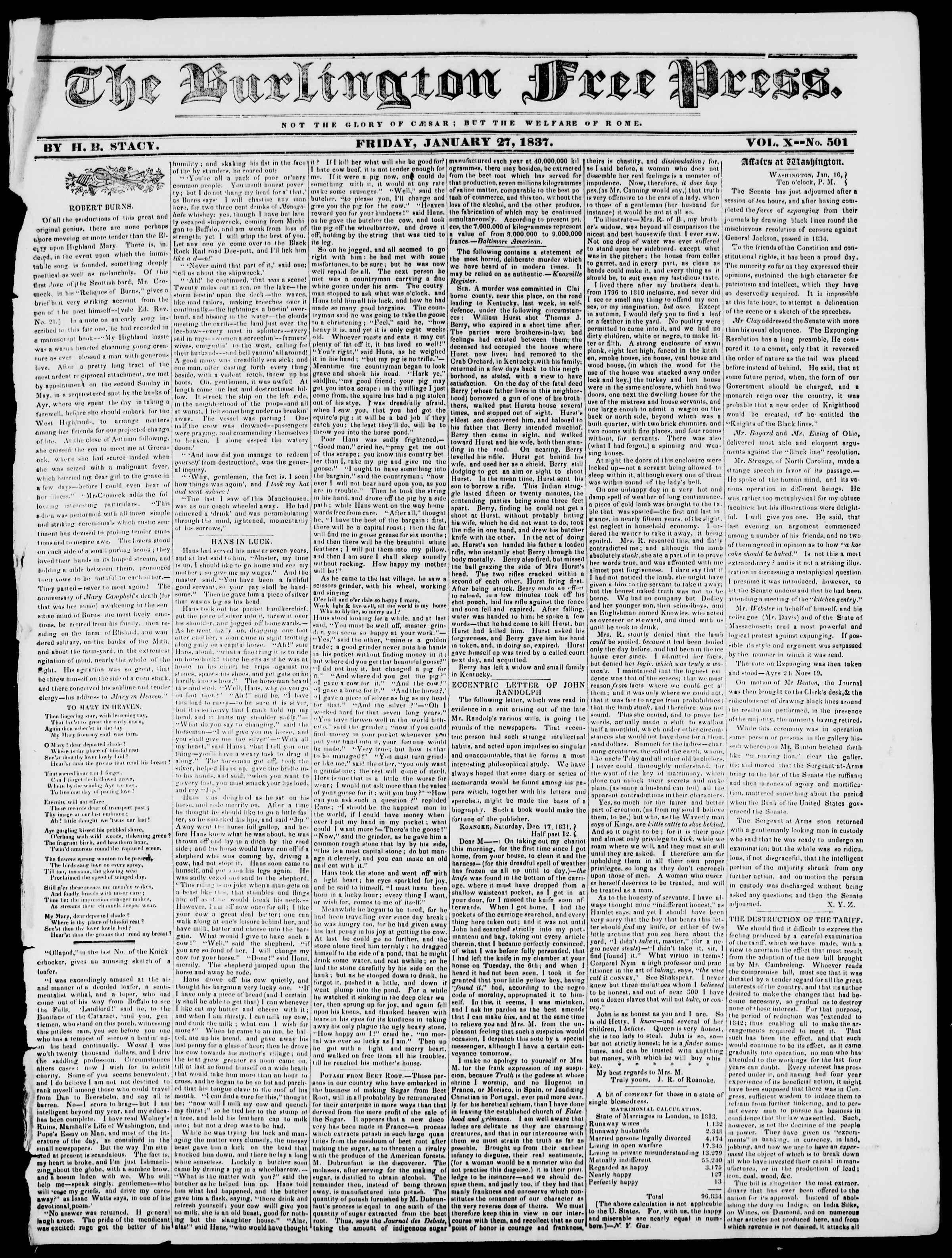 Newspaper of Burlington Free Press dated January 27, 1837 Page 1