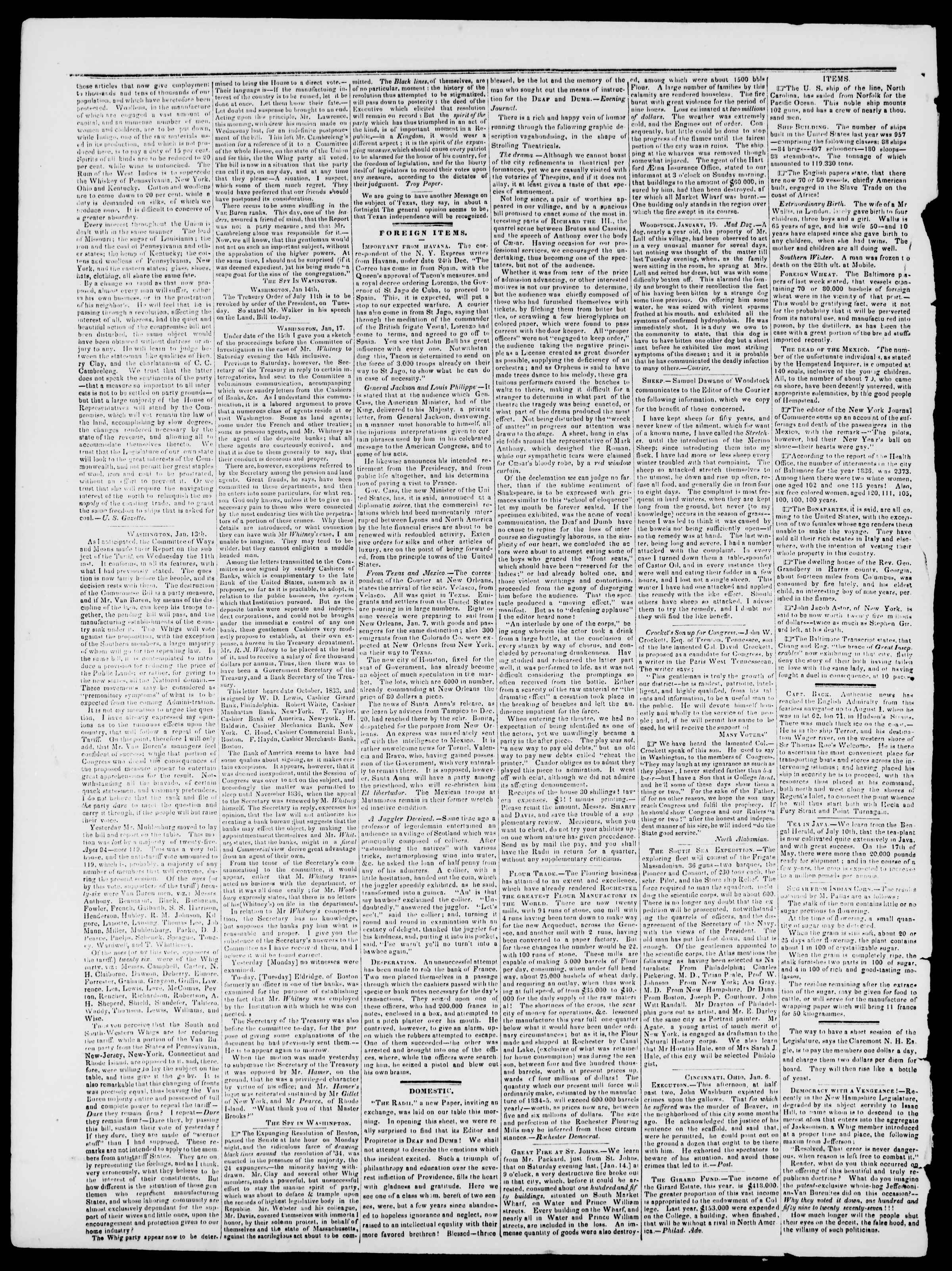 Newspaper of Burlington Free Press dated January 27, 1837 Page 2