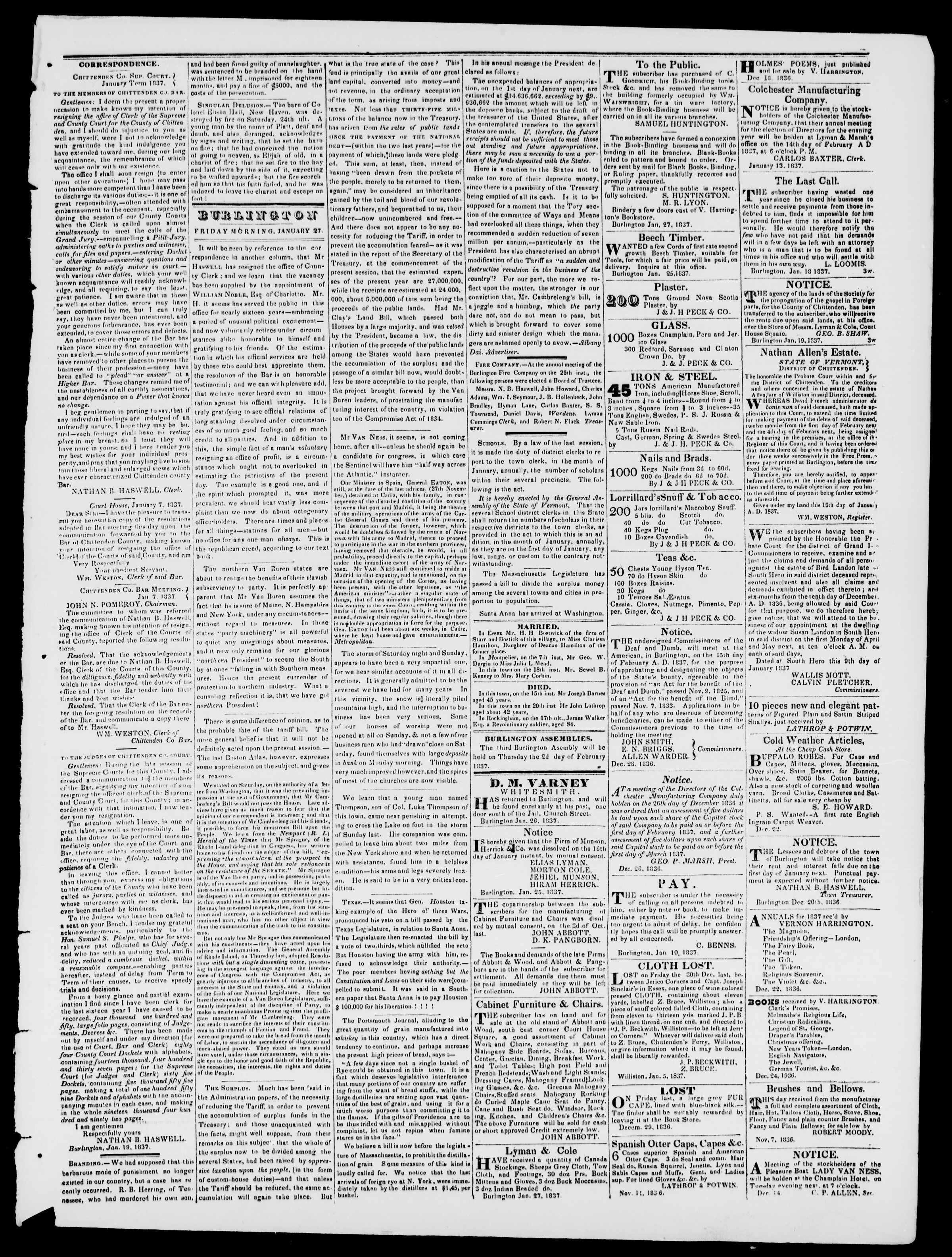 Newspaper of Burlington Free Press dated January 27, 1837 Page 3