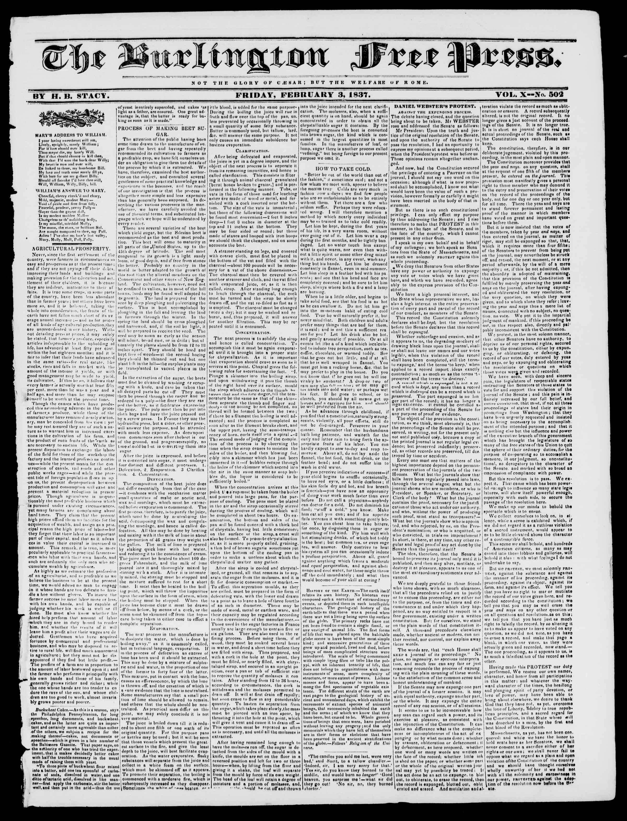 Newspaper of Burlington Free Press dated February 3, 1837 Page 1