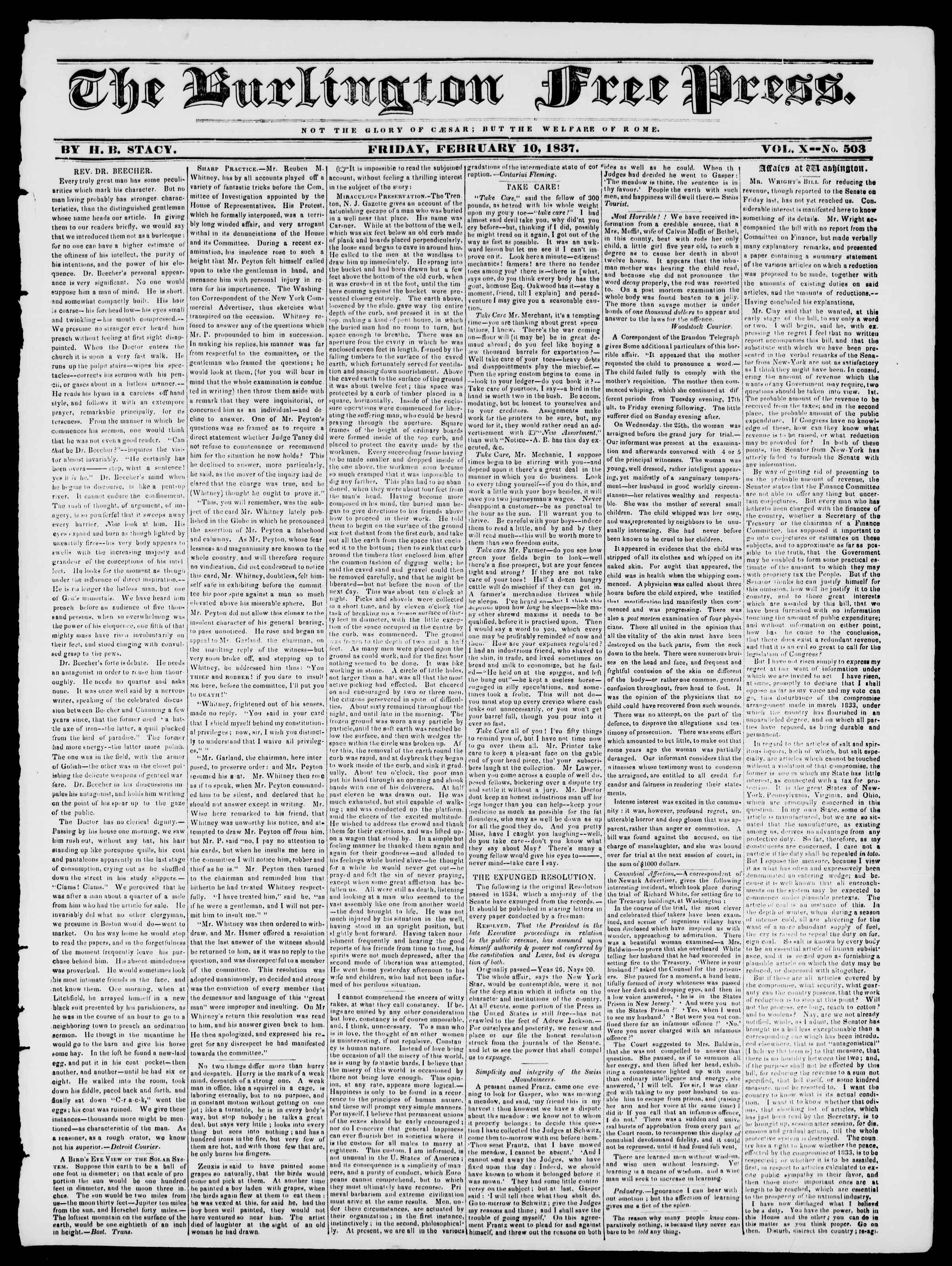 10 Şubat 1837 tarihli Burlington Free Press Gazetesi Sayfa 1