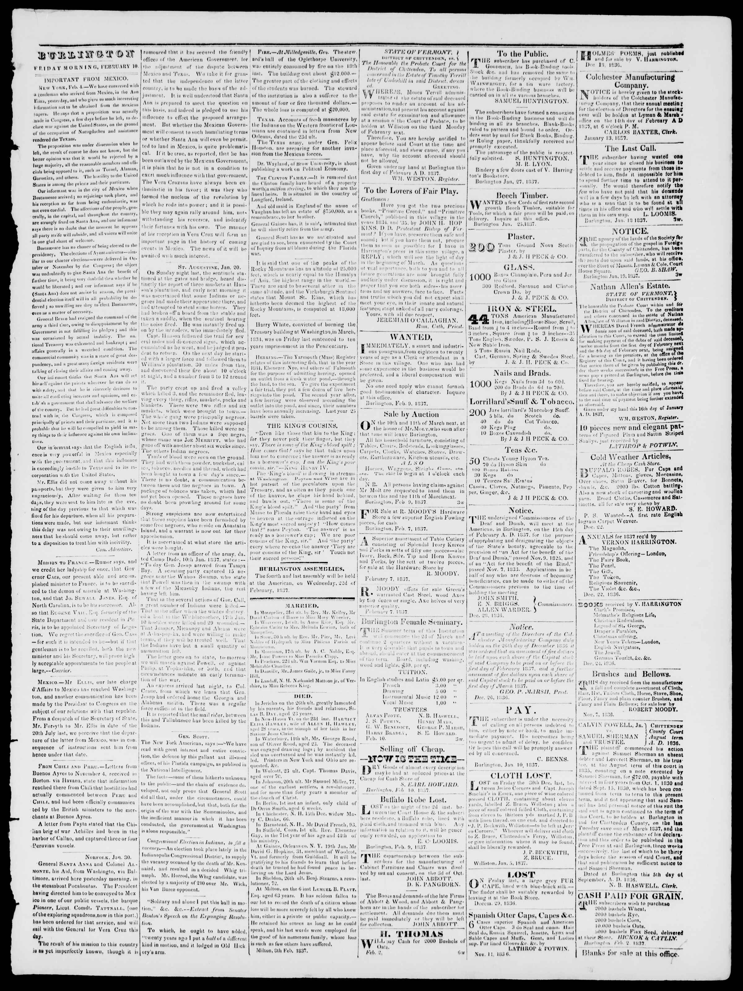 Newspaper of Burlington Free Press dated February 10, 1837 Page 3