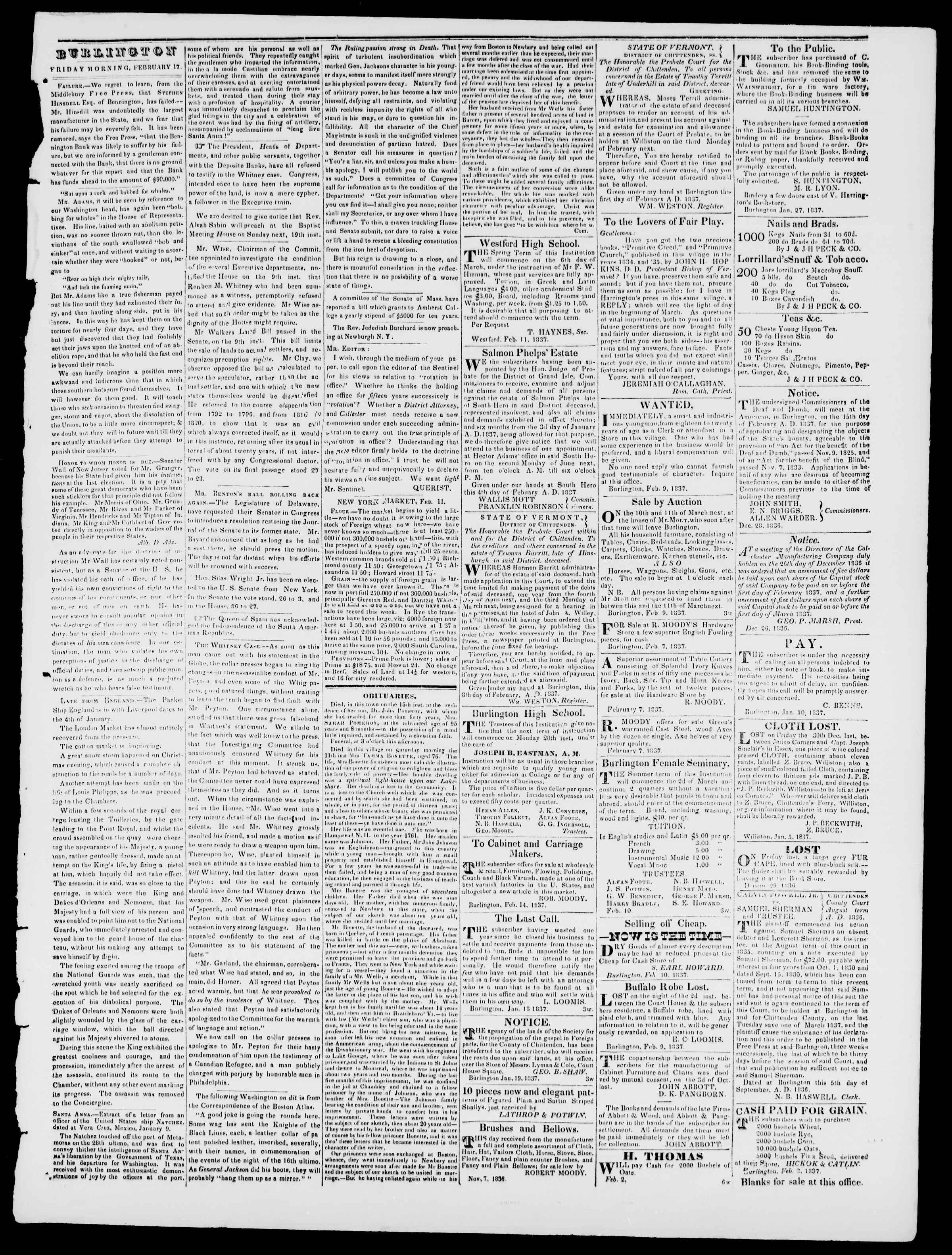 Newspaper of Burlington Free Press dated February 17, 1837 Page 3