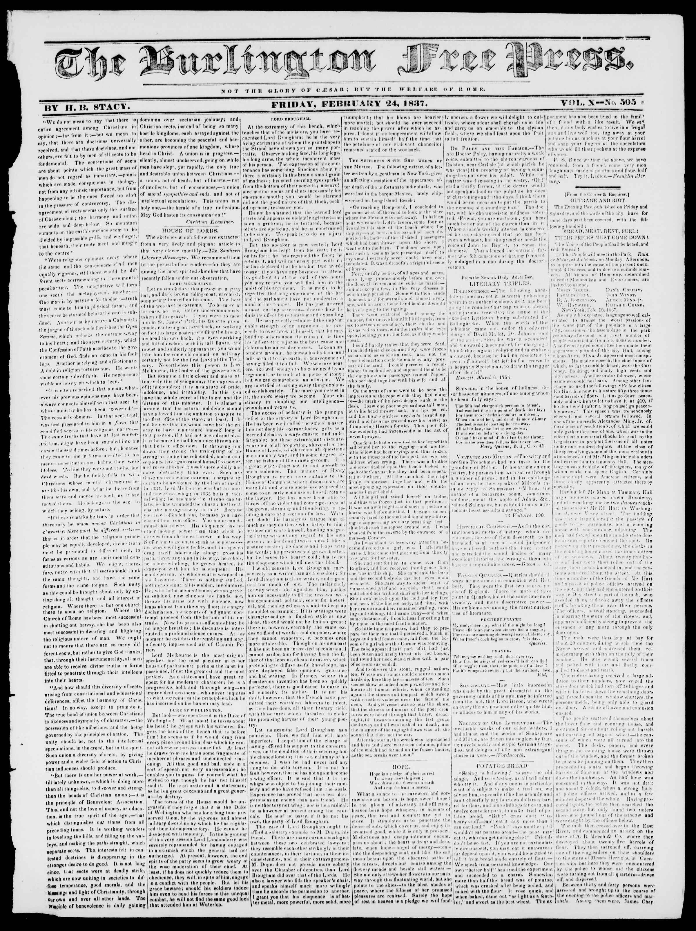 24 Şubat 1837 tarihli Burlington Free Press Gazetesi Sayfa 1