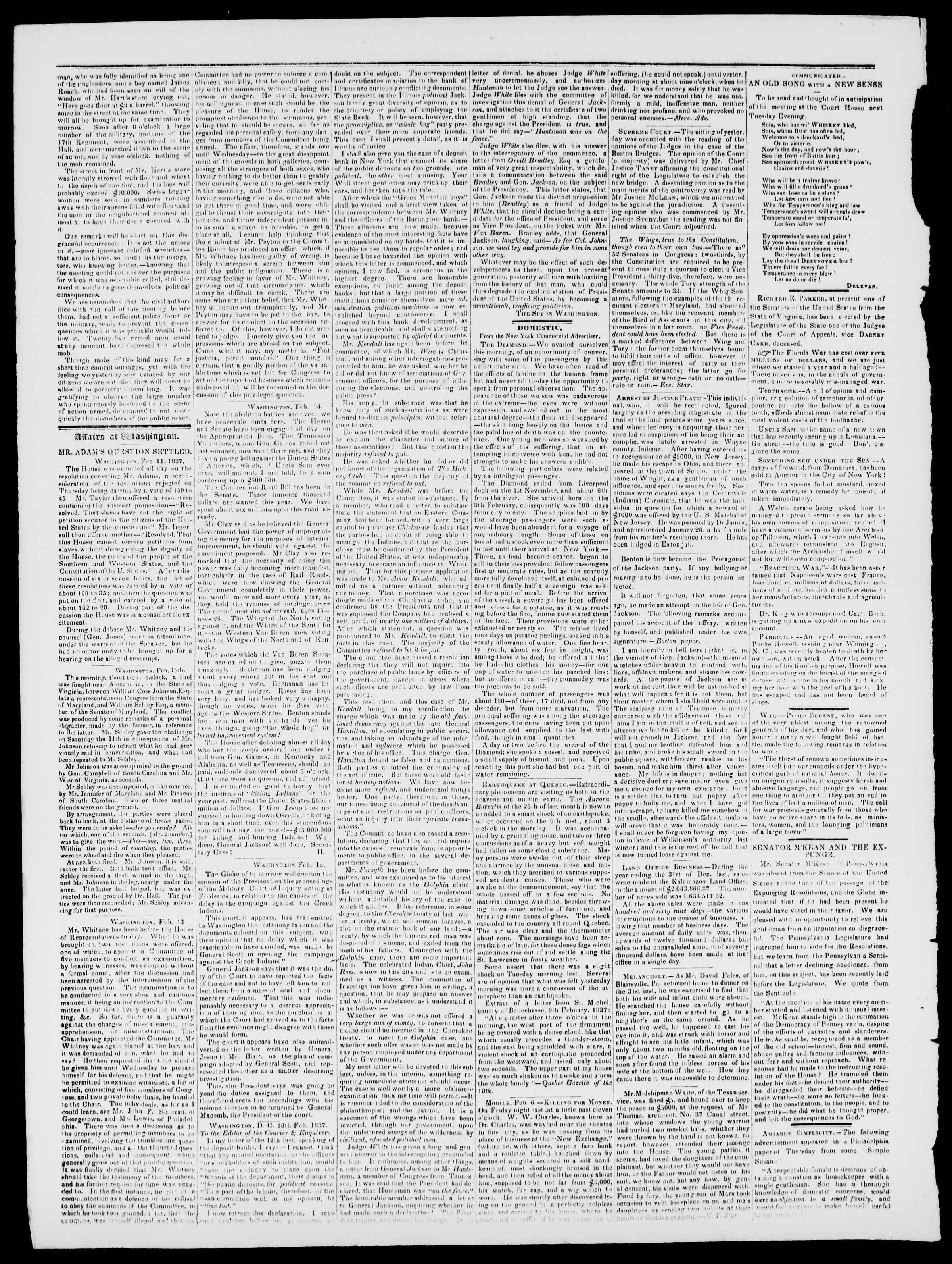 Newspaper of Burlington Free Press dated February 24, 1837 Page 2