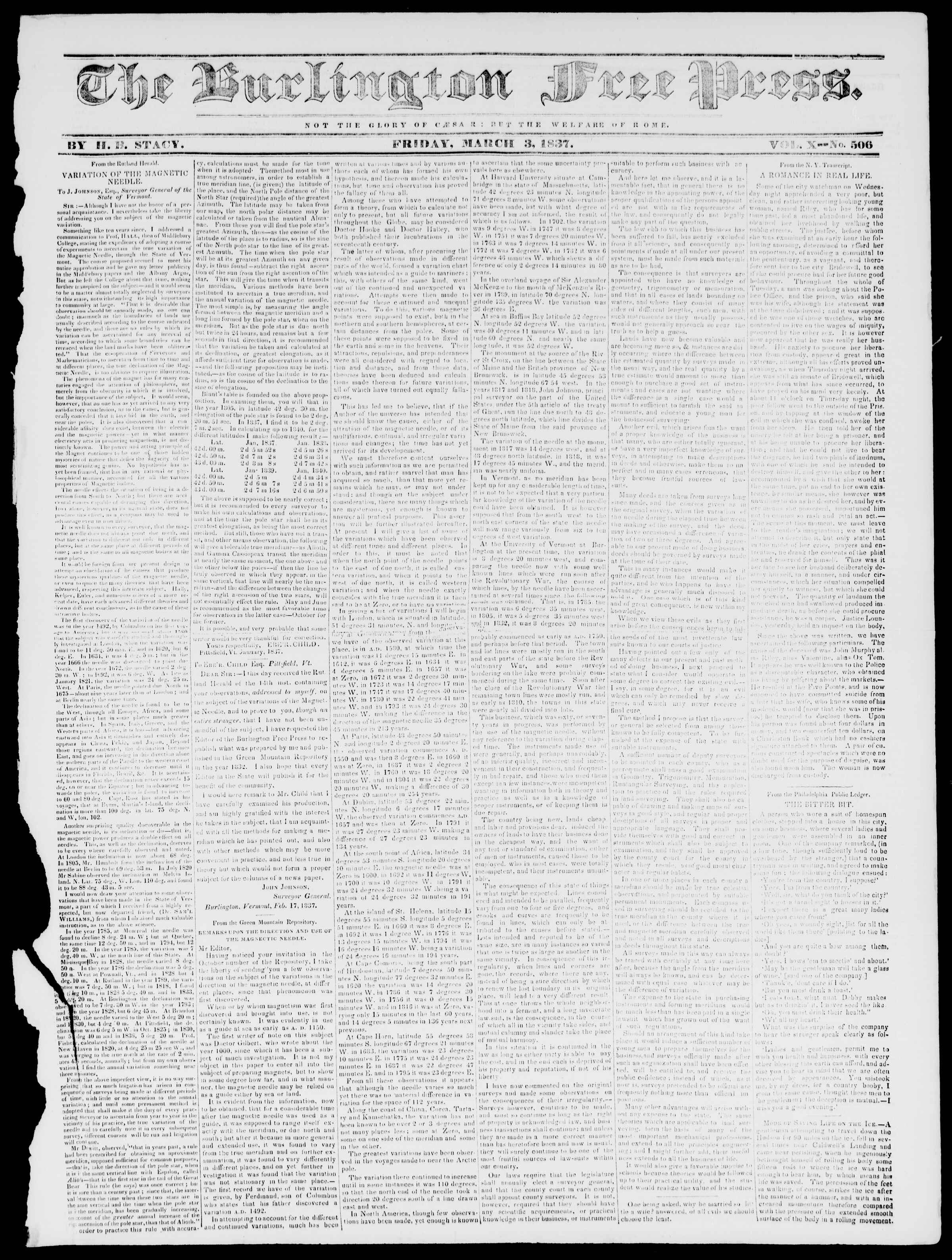 Newspaper of Burlington Free Press dated March 3, 1837 Page 1