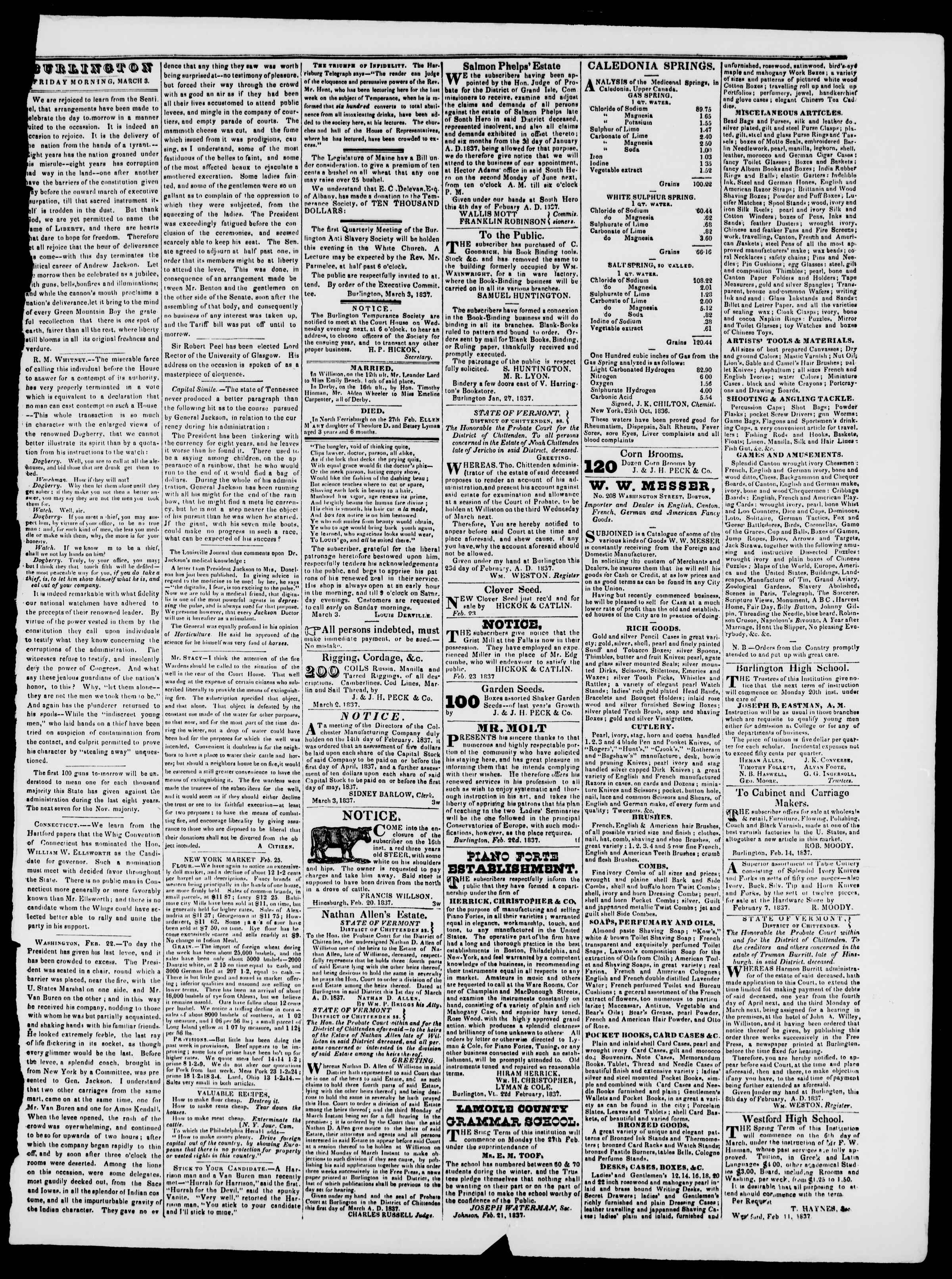 Newspaper of Burlington Free Press dated March 3, 1837 Page 3
