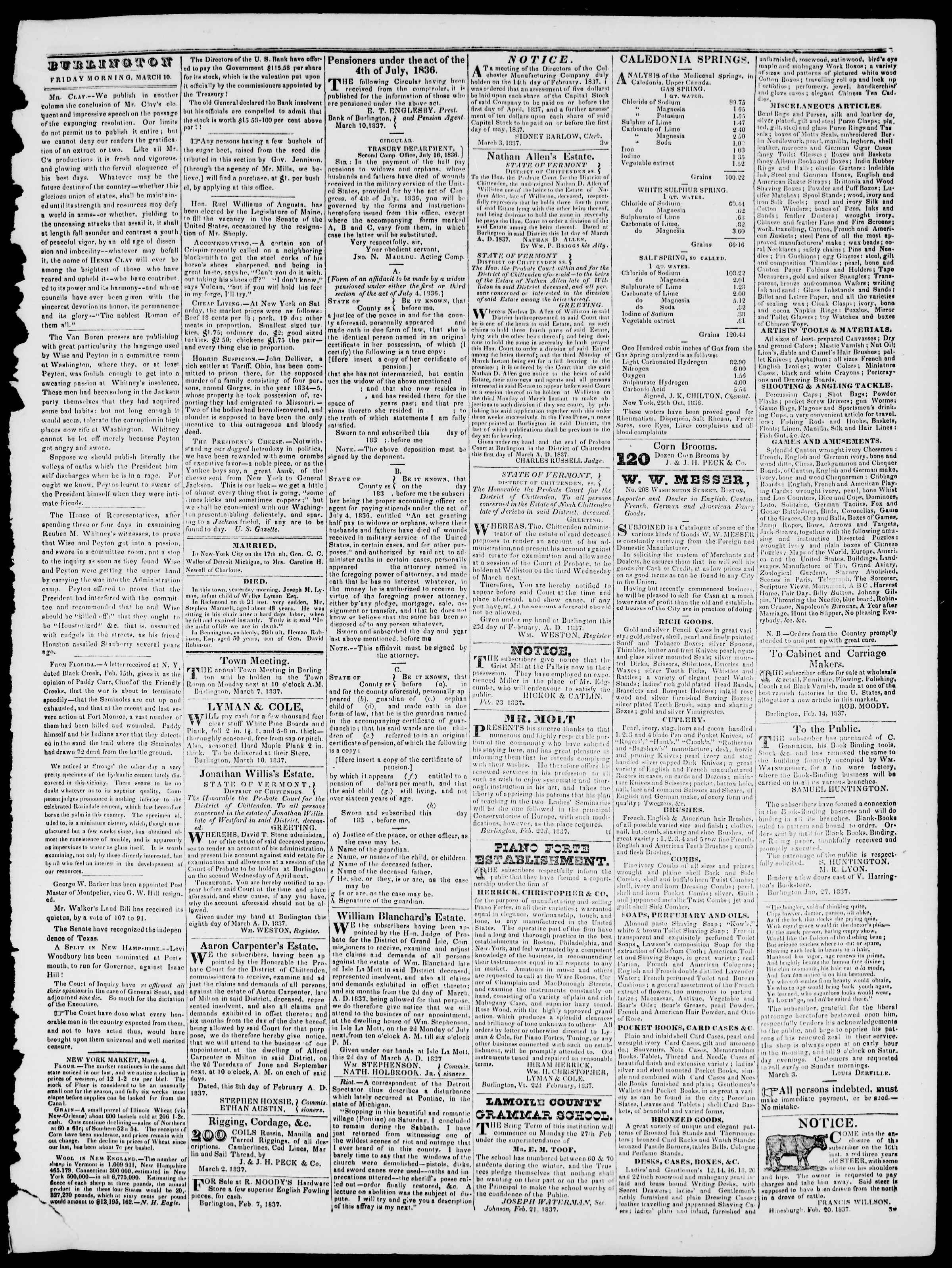 Newspaper of Burlington Free Press dated March 10, 1837 Page 3