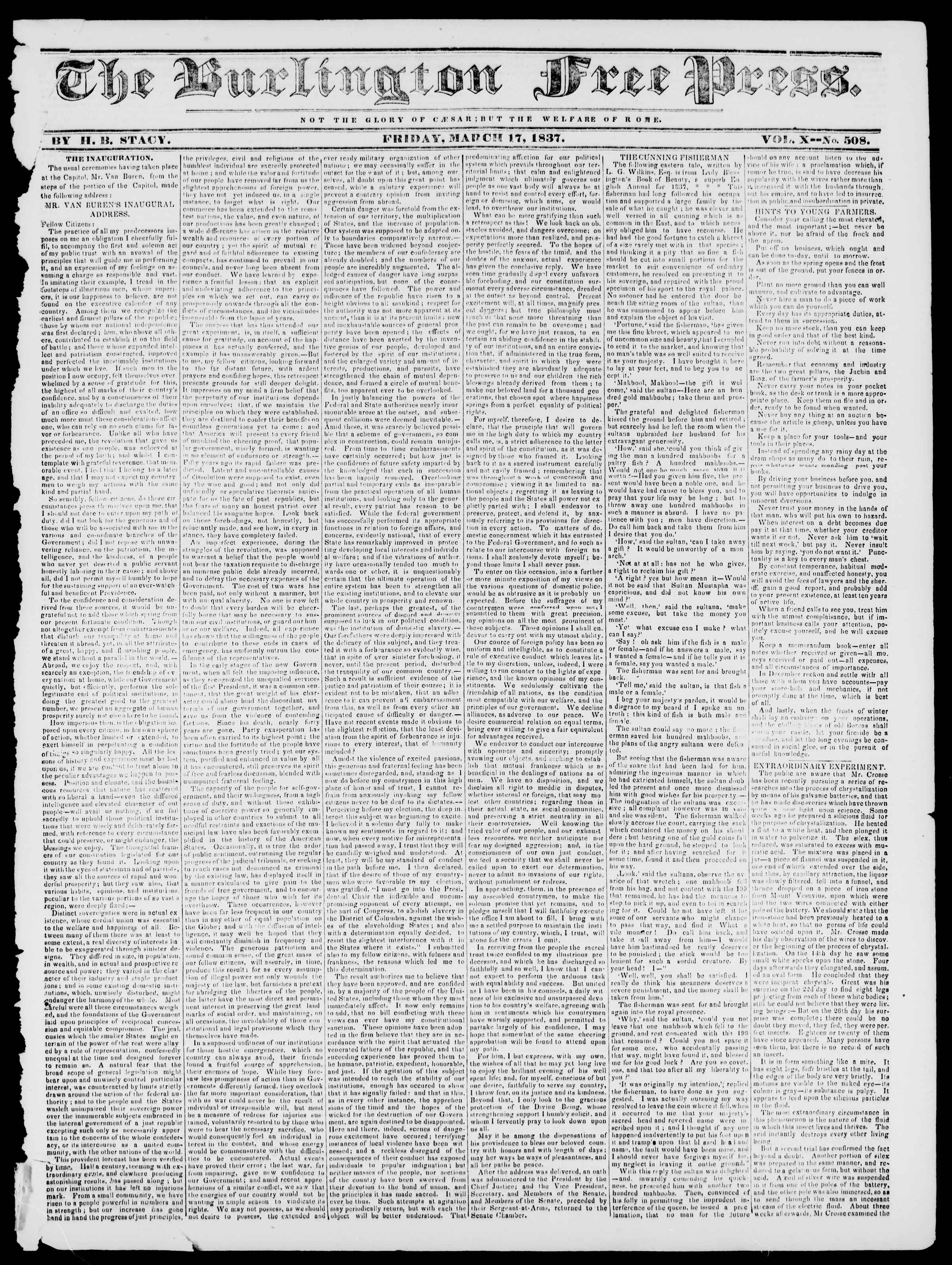 Newspaper of Burlington Free Press dated March 17, 1837 Page 1