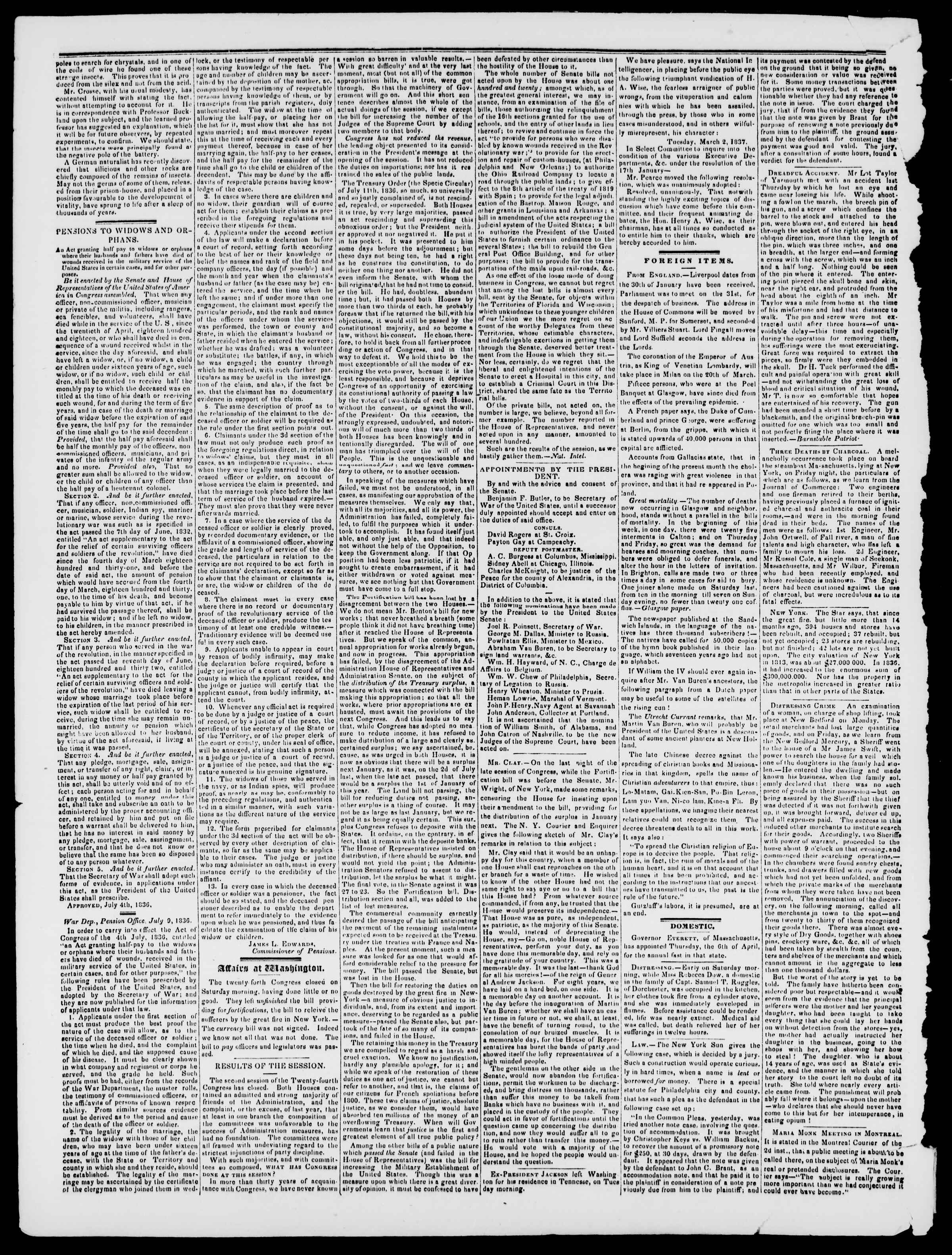 Newspaper of Burlington Free Press dated March 17, 1837 Page 2