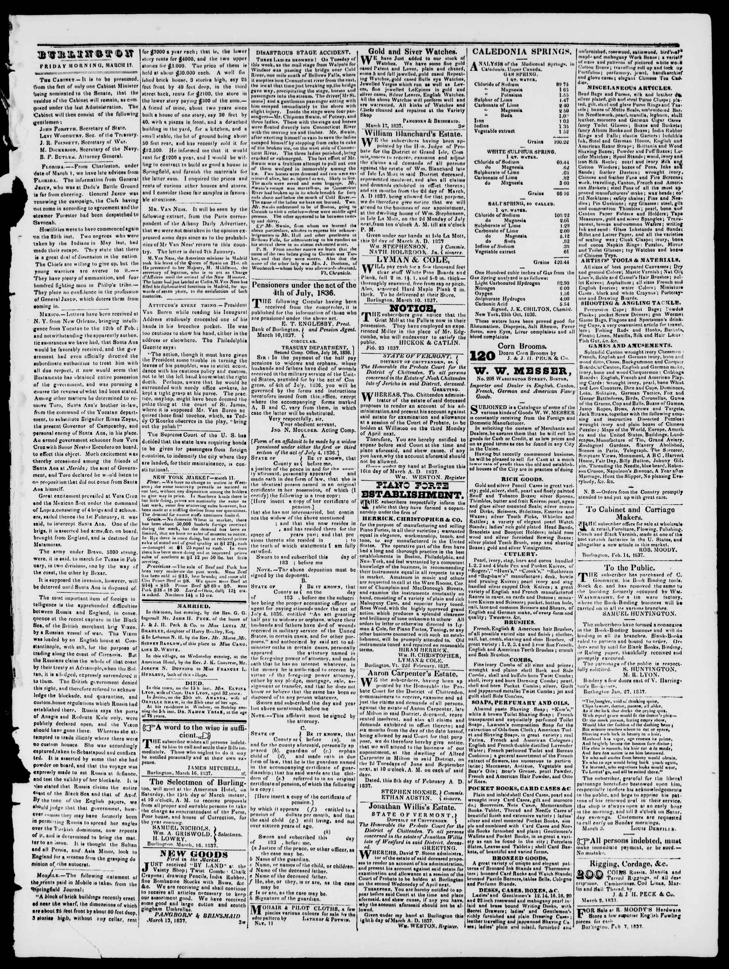Newspaper of Burlington Free Press dated March 17, 1837 Page 3