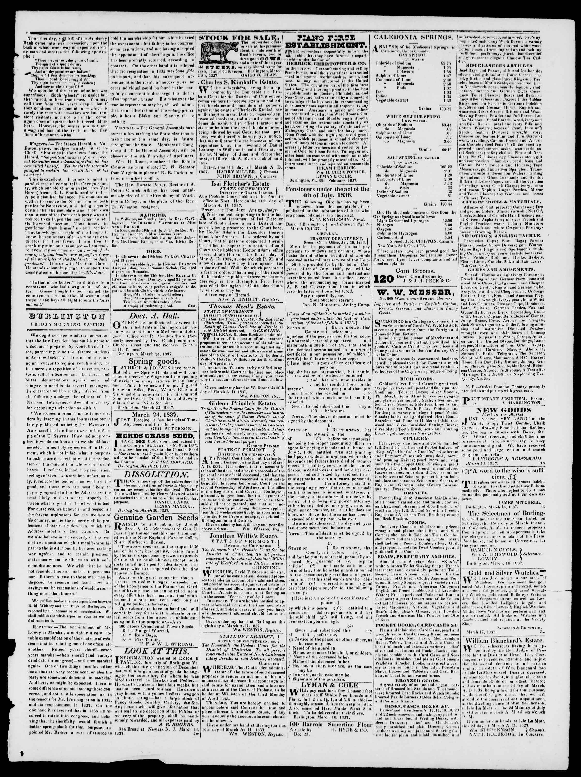 Newspaper of Burlington Free Press dated March 24, 1837 Page 3