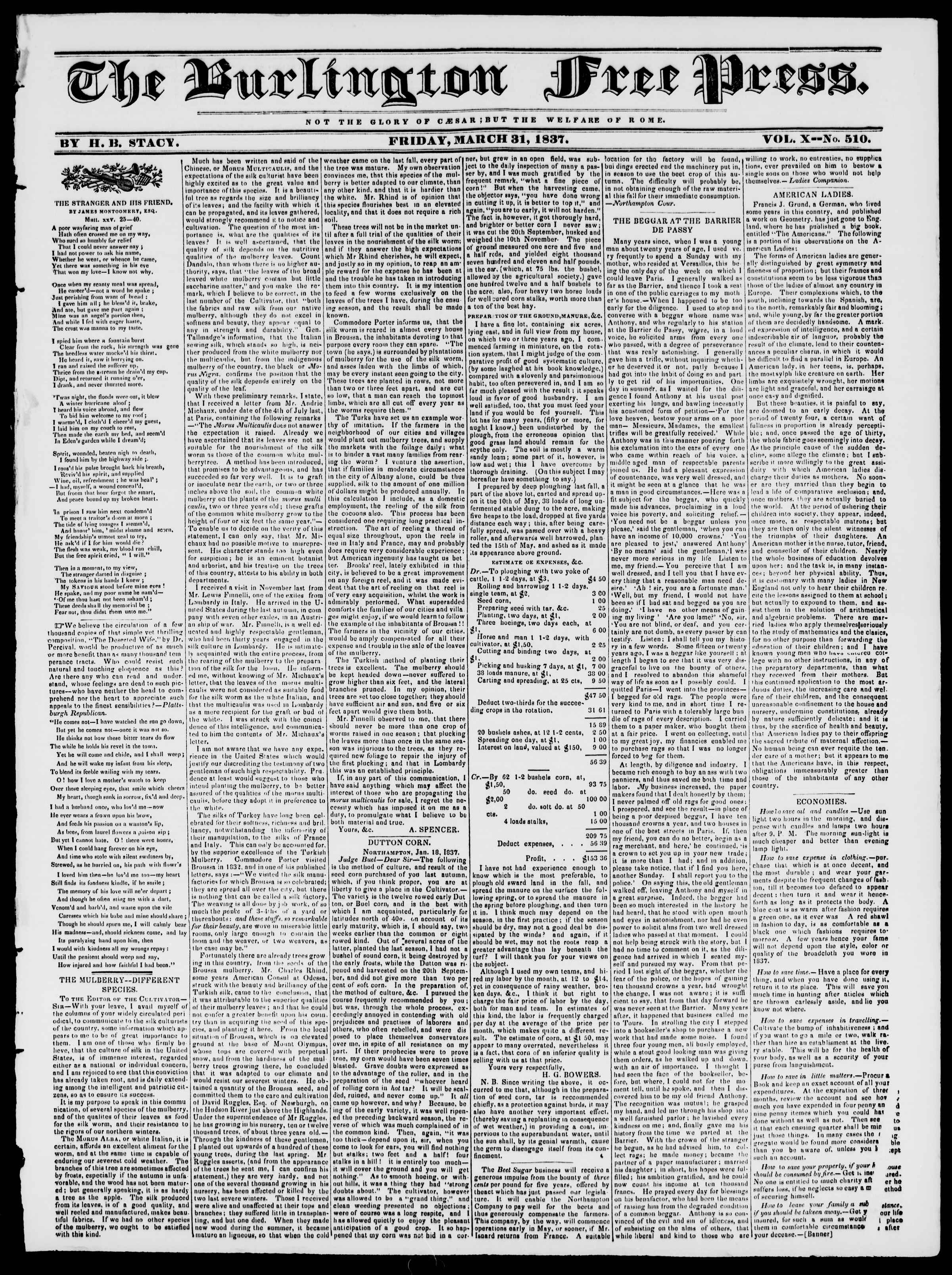 Newspaper of Burlington Free Press dated March 31, 1837 Page 1