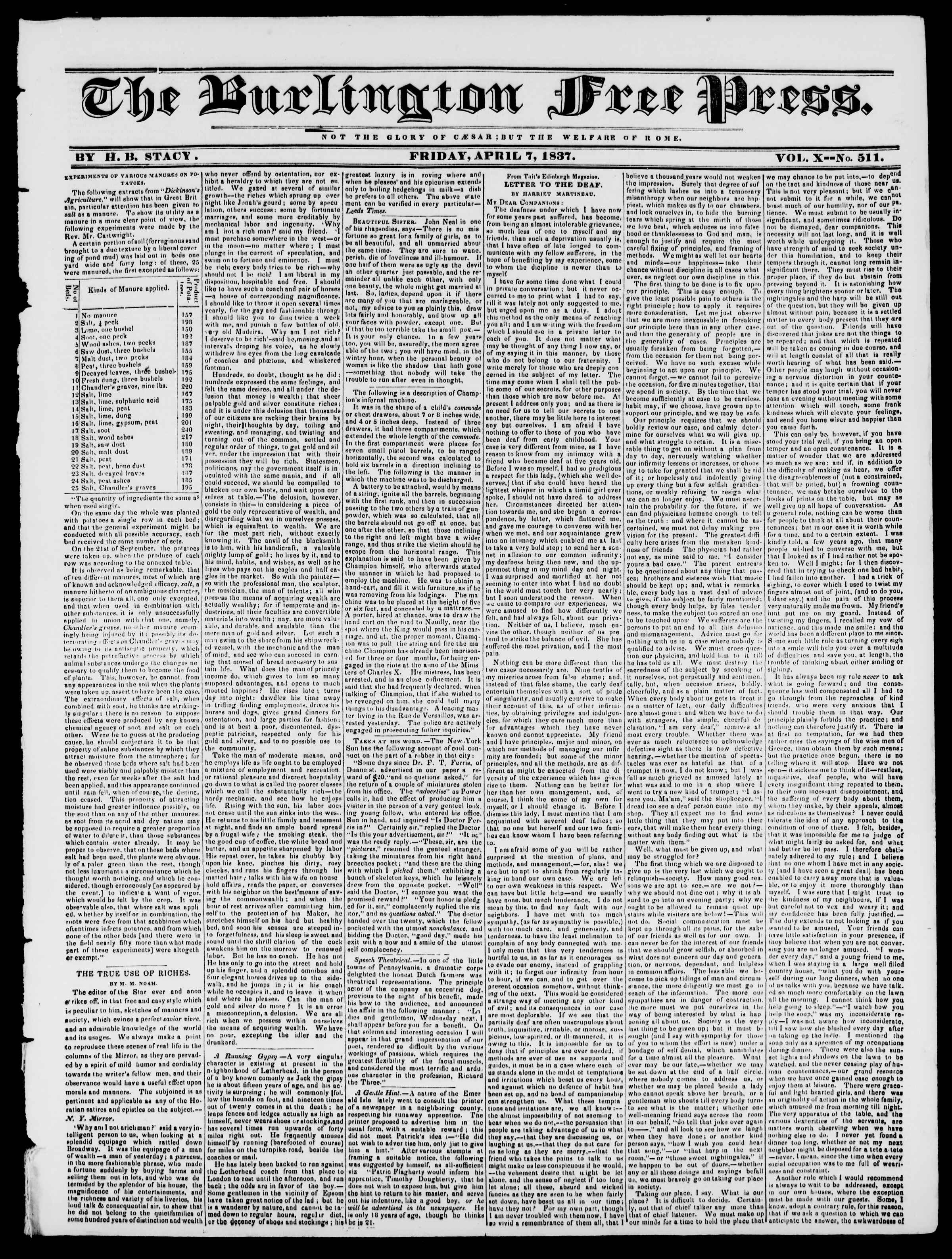Newspaper of Burlington Free Press dated April 7, 1837 Page 1