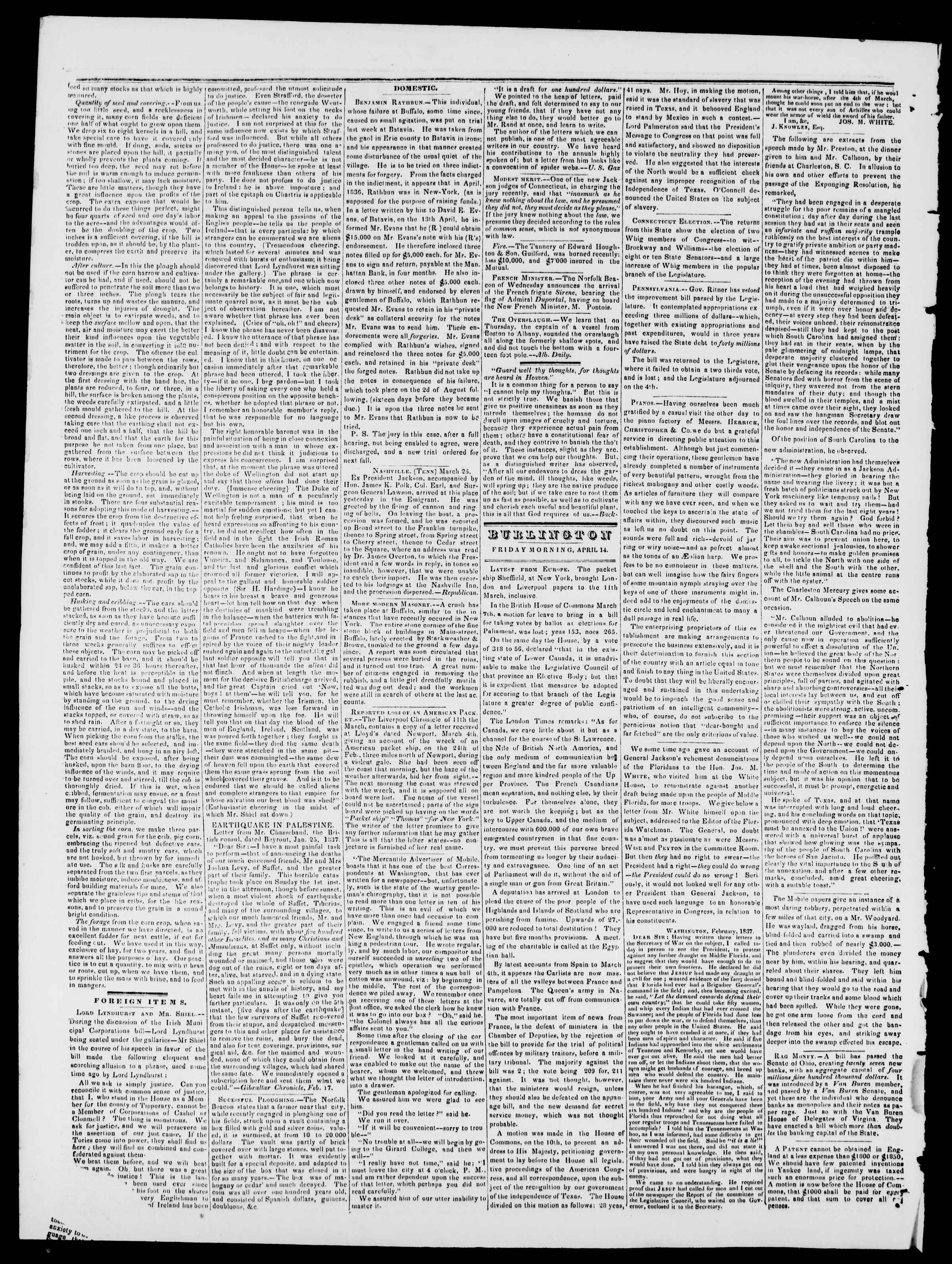 Newspaper of Burlington Free Press dated April 14, 1837 Page 2
