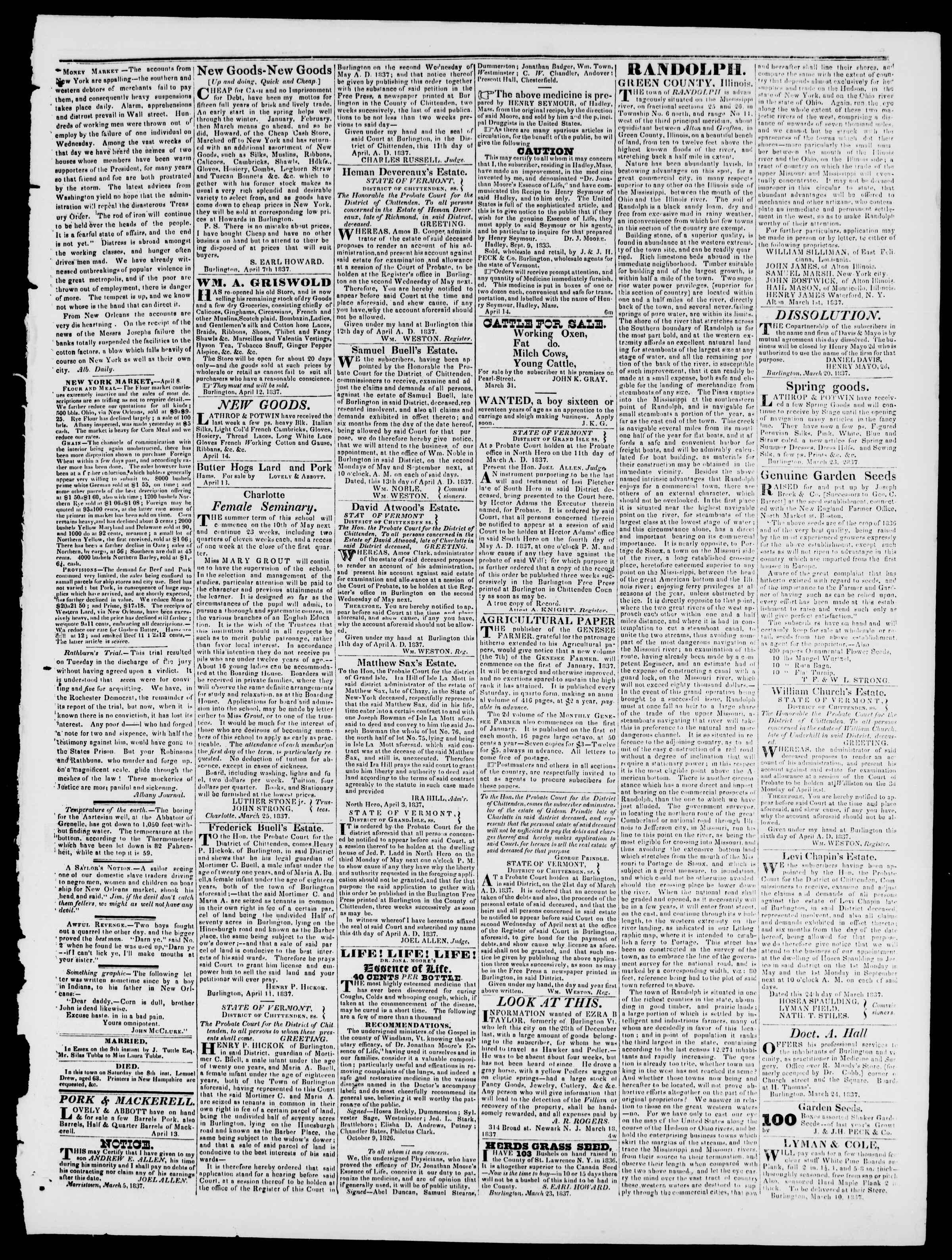 Newspaper of Burlington Free Press dated April 14, 1837 Page 3